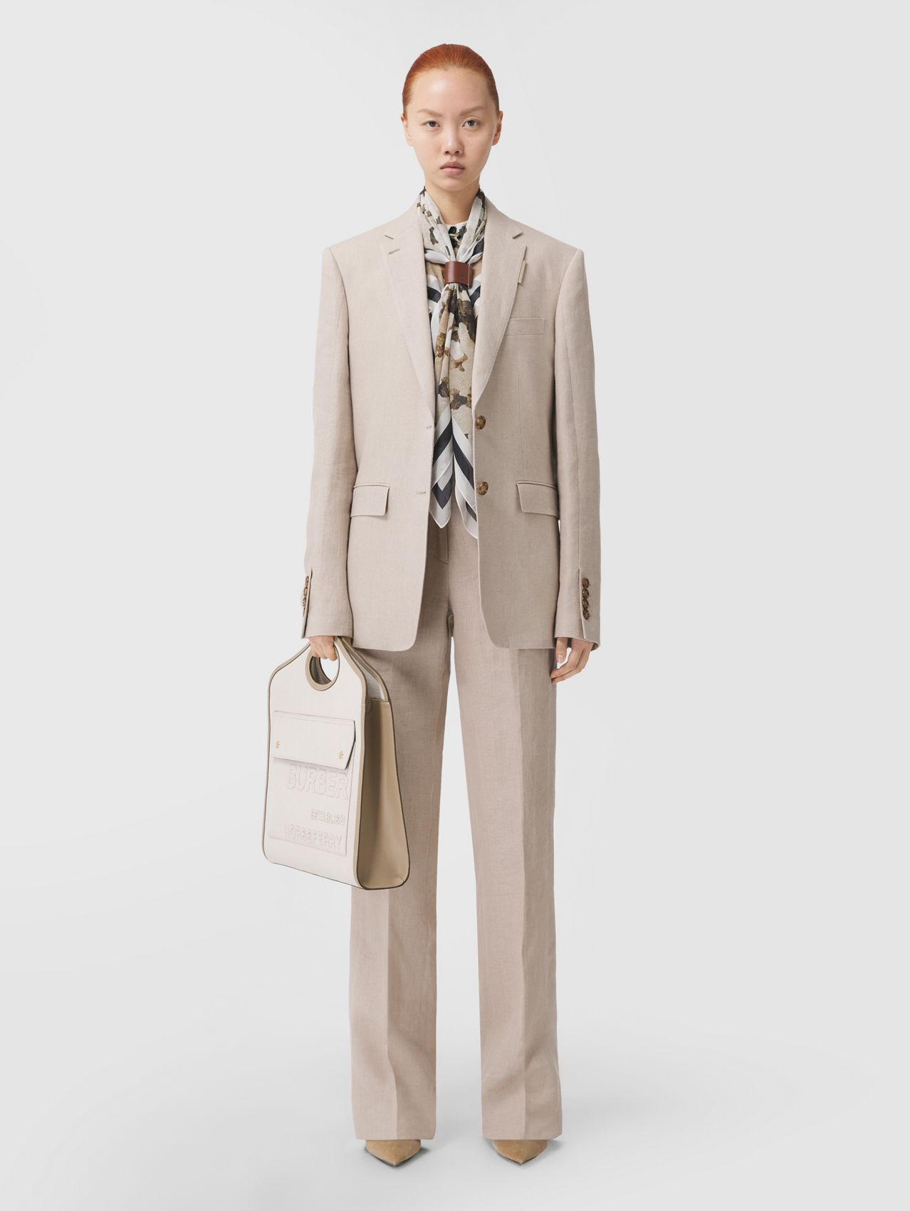 Linen Tailored Trousers in Oatmeal
