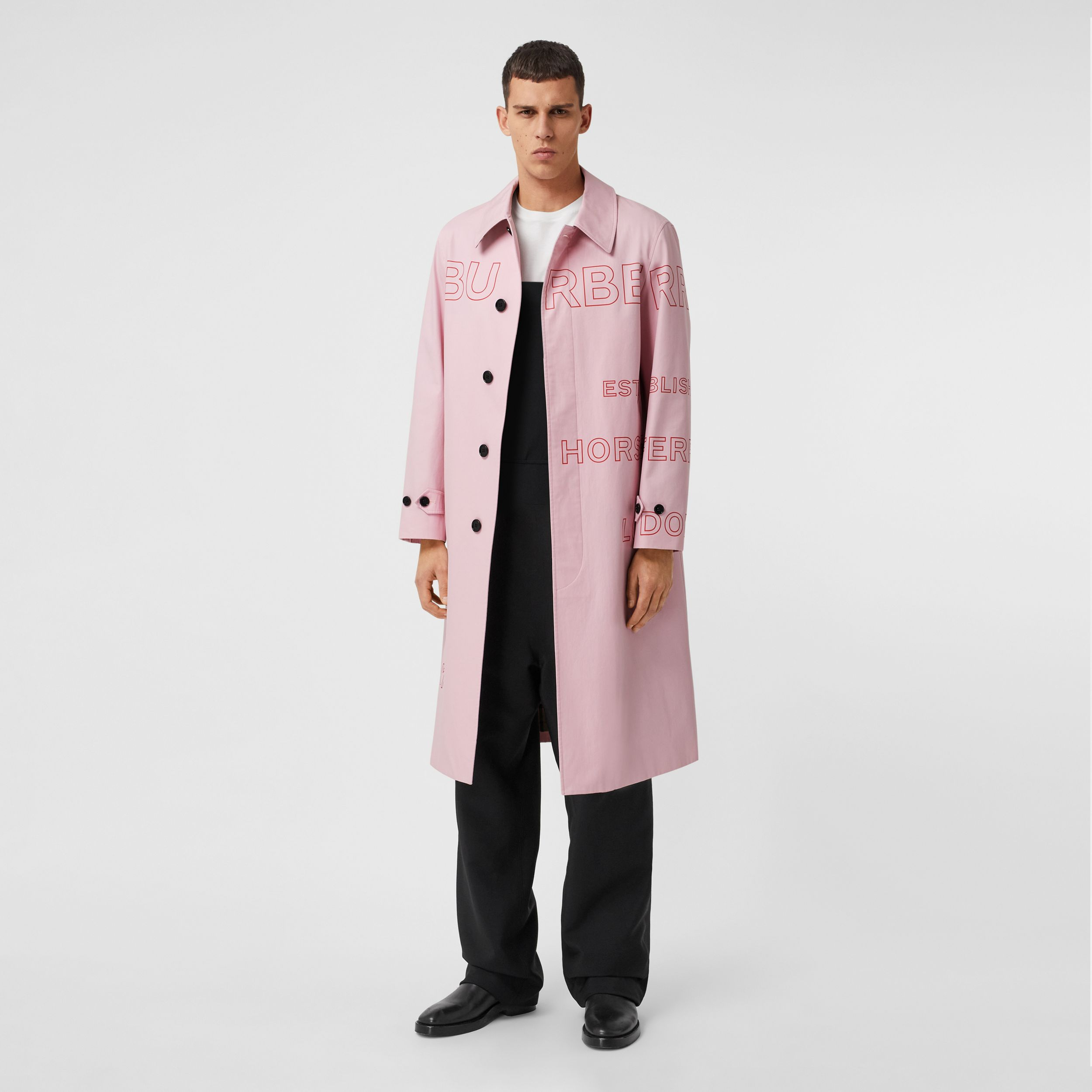 Horseferry Print Cotton Gabardine Car Coat in Light Pink - Men | Burberry - 1