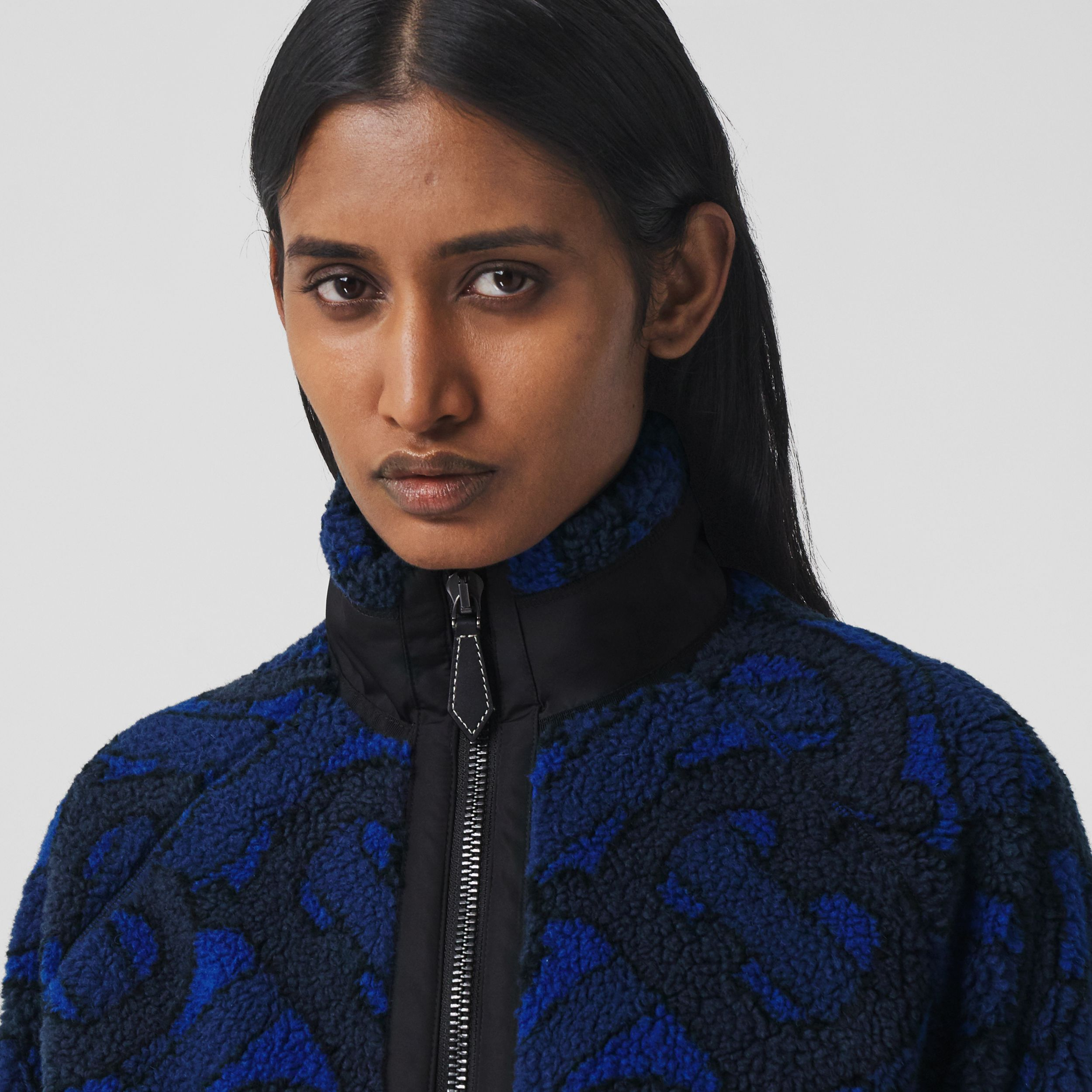 Monogram Fleece Jacquard Jacket in Navy - Women | Burberry - 2