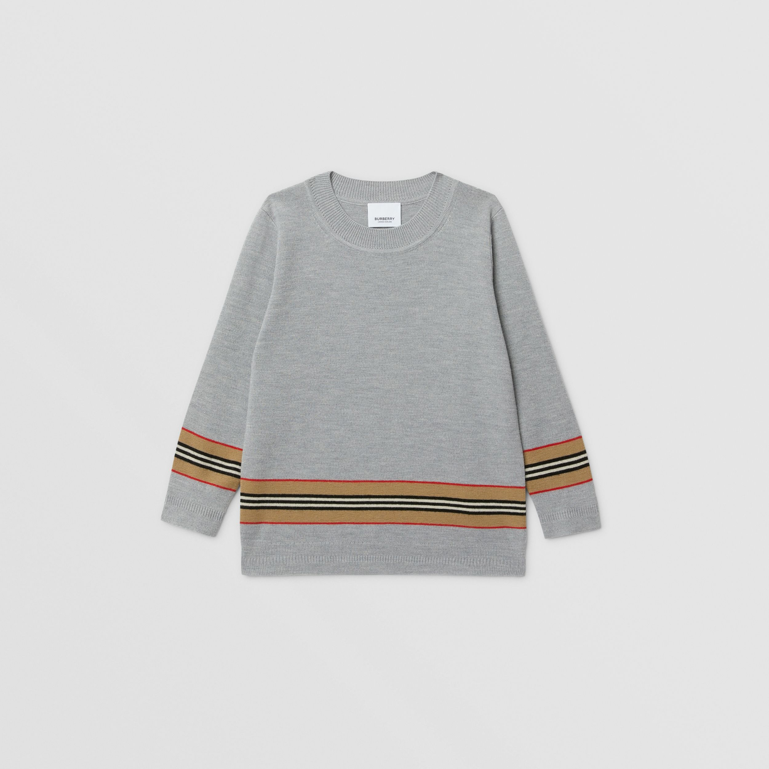 Icon Stripe Panel Merino Wool Sweater in Grey Melange | Burberry - 1