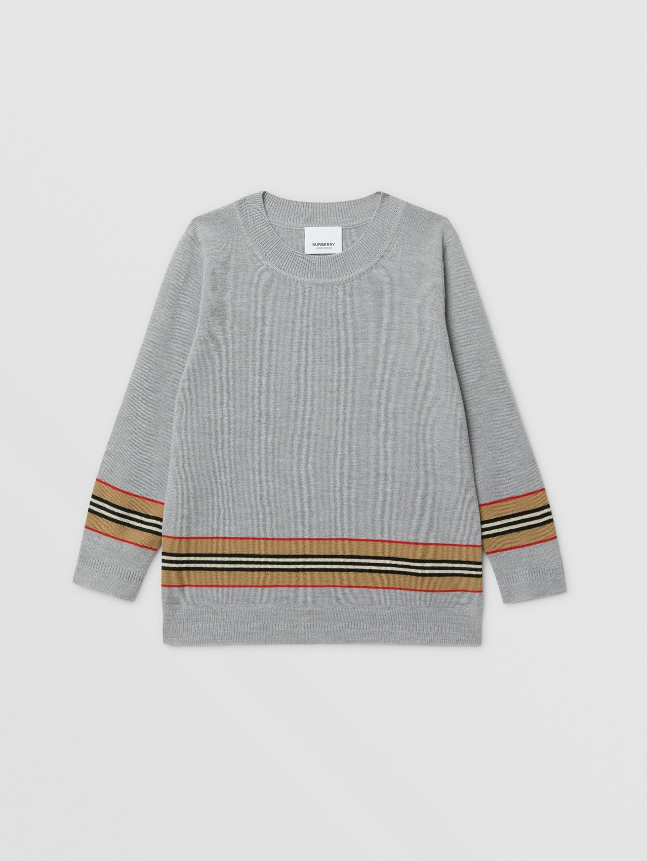 Icon Stripe Panel Merino Wool Sweater in Grey Melange