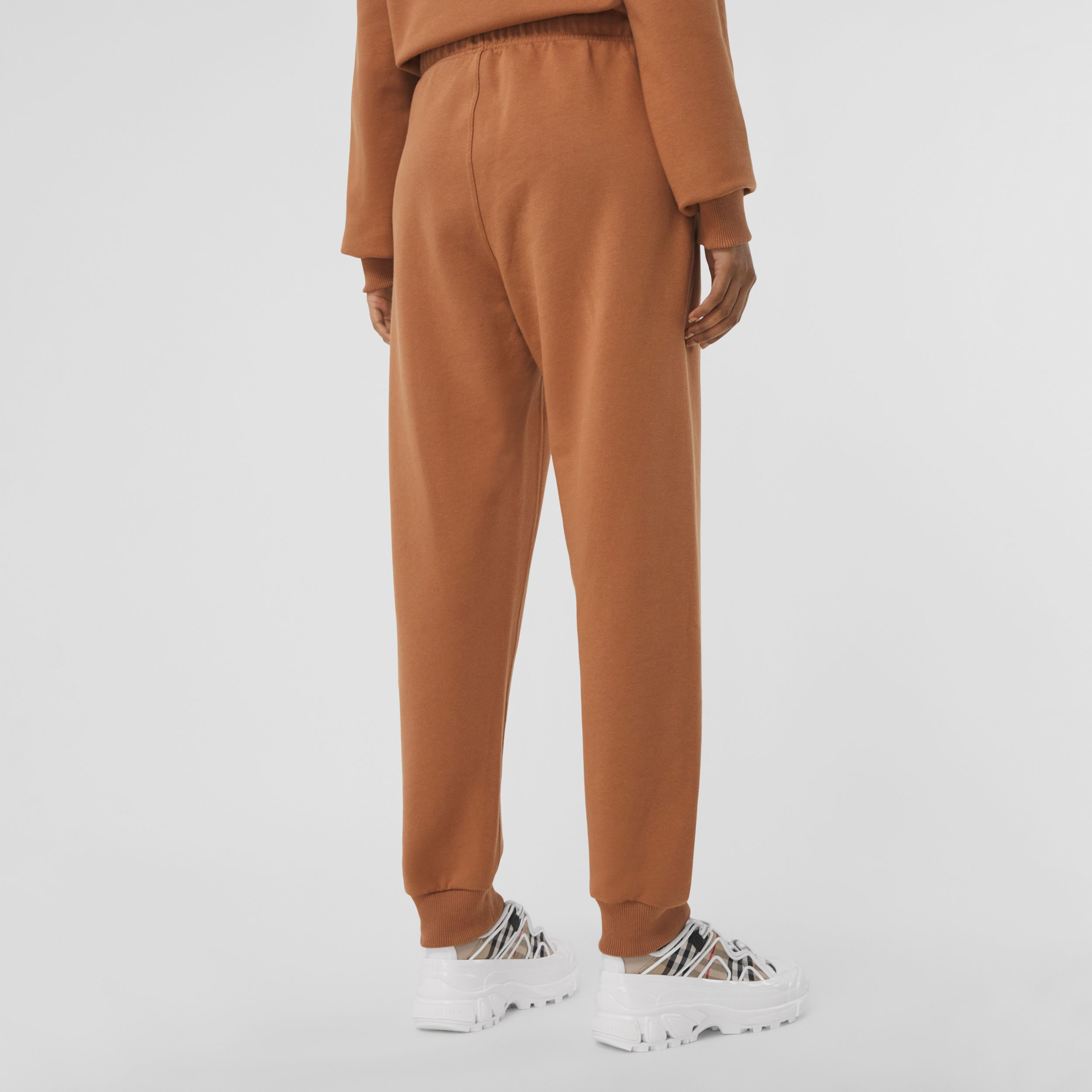 Horseferry Print Cotton Jogging Pants in Camel - Women | Burberry - 3