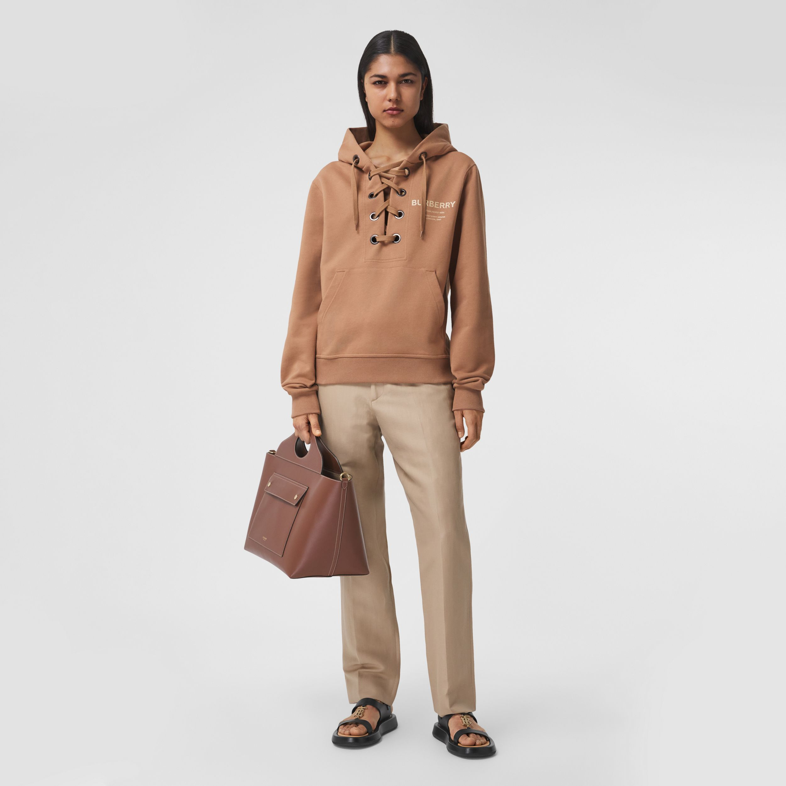 Lace-up Horseferry Print Cotton Oversized Hoodie in Camel - Women | Burberry - 1