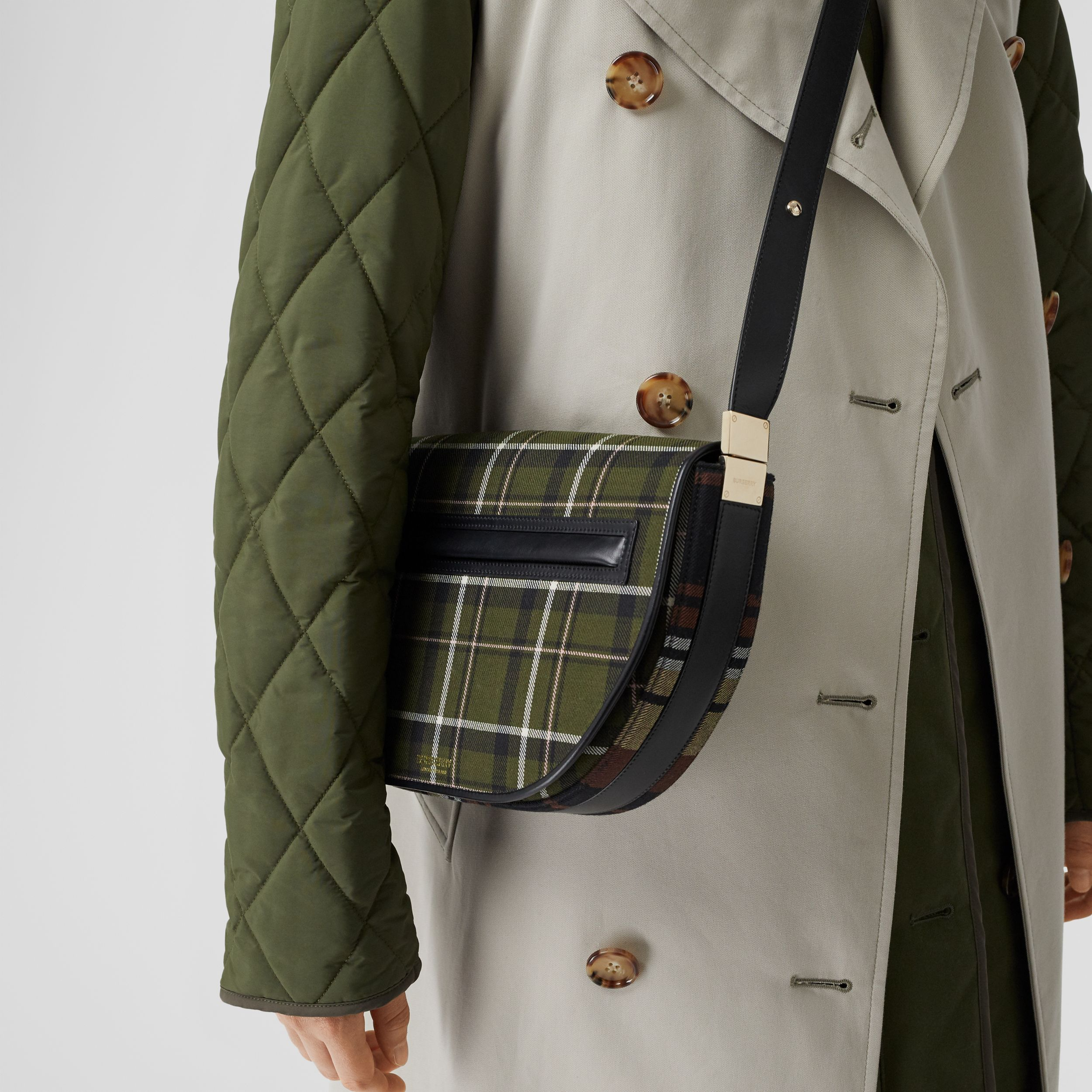 Medium Tartan Wool and Leather Olympia Bag in Dark Green | Burberry - 4