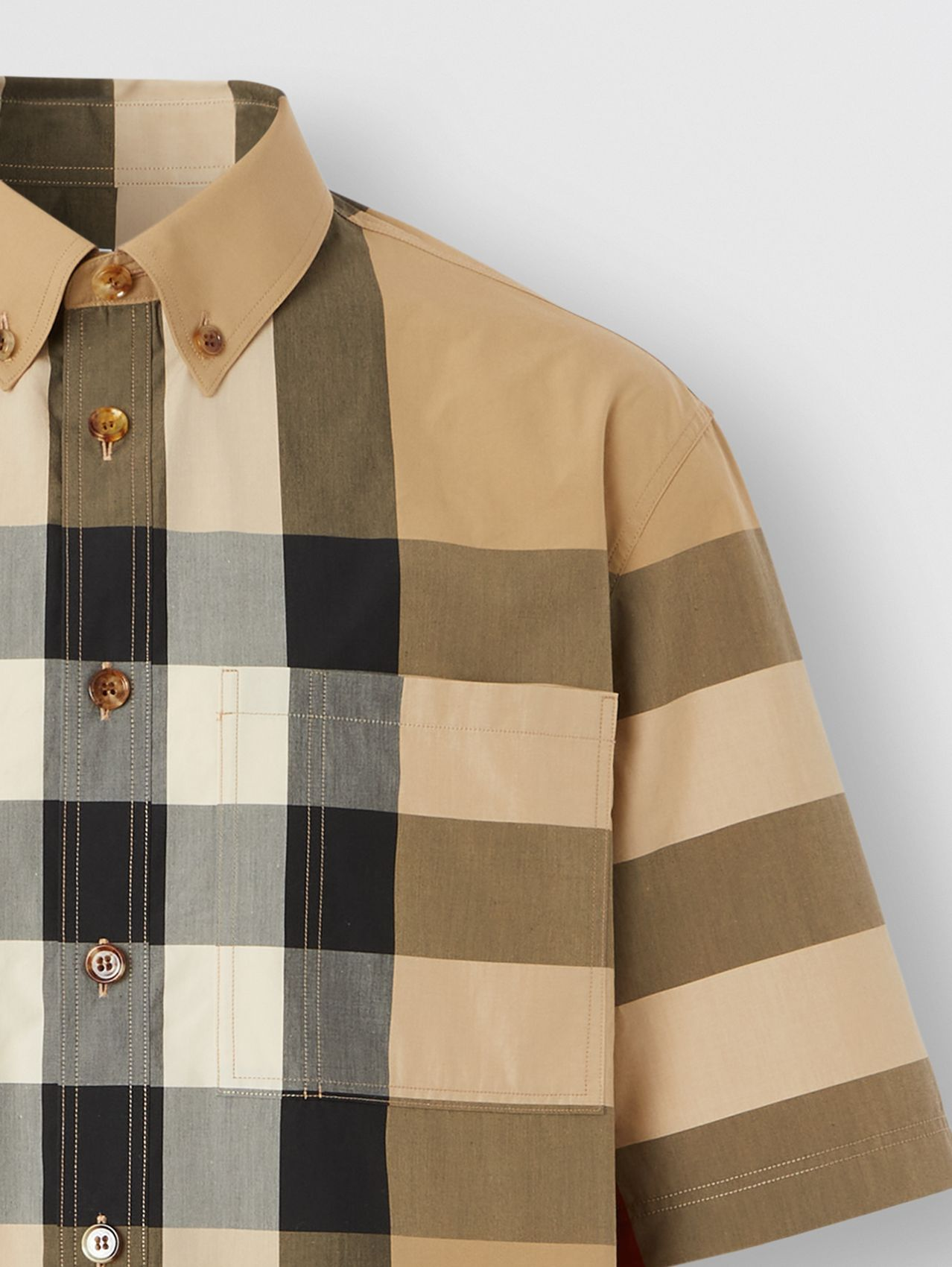 Short-sleeve Check Cotton Shirt in Archive Beige