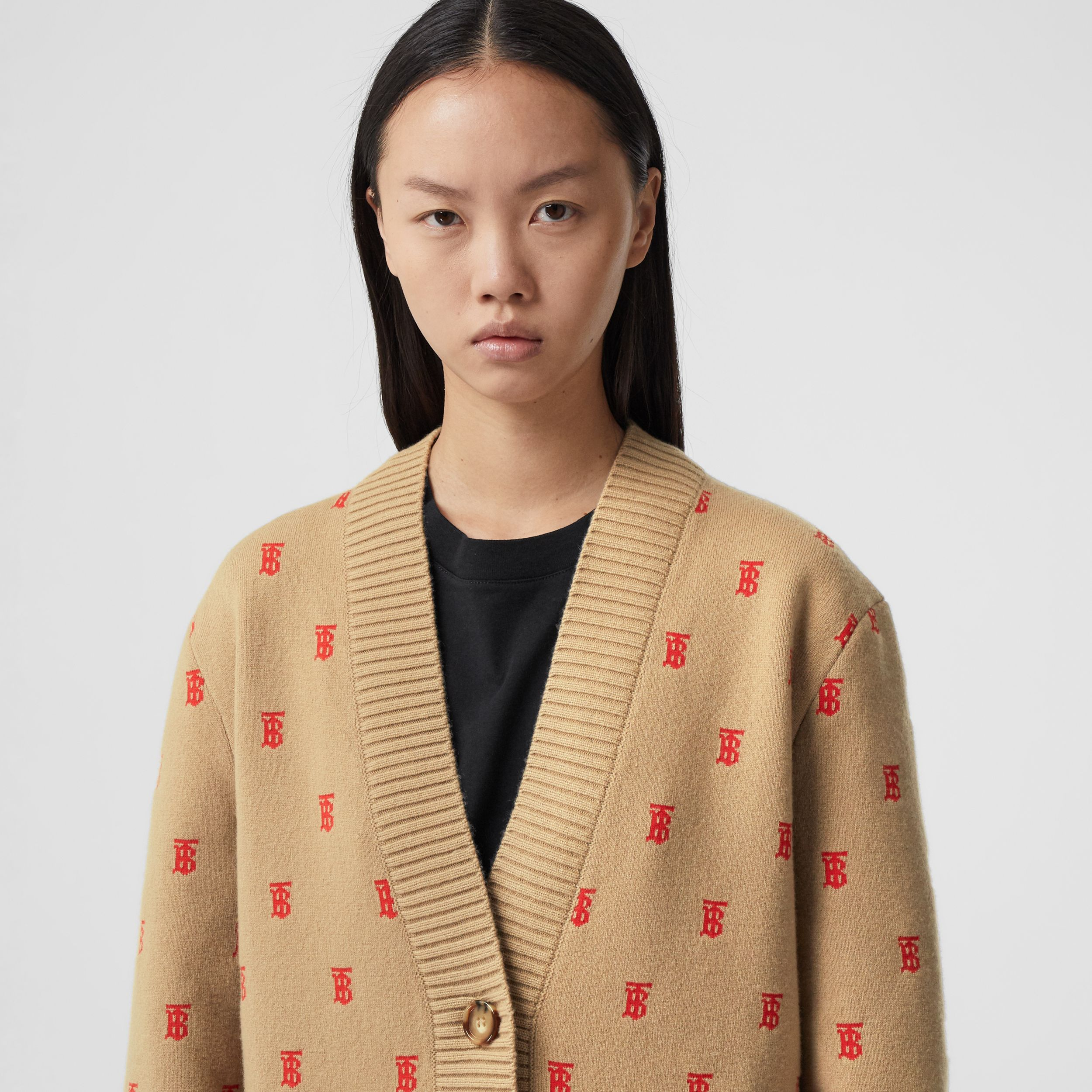 Monogram Wool Cashmere Blend Oversized Cardigan in Archive Beige - Women | Burberry - 2