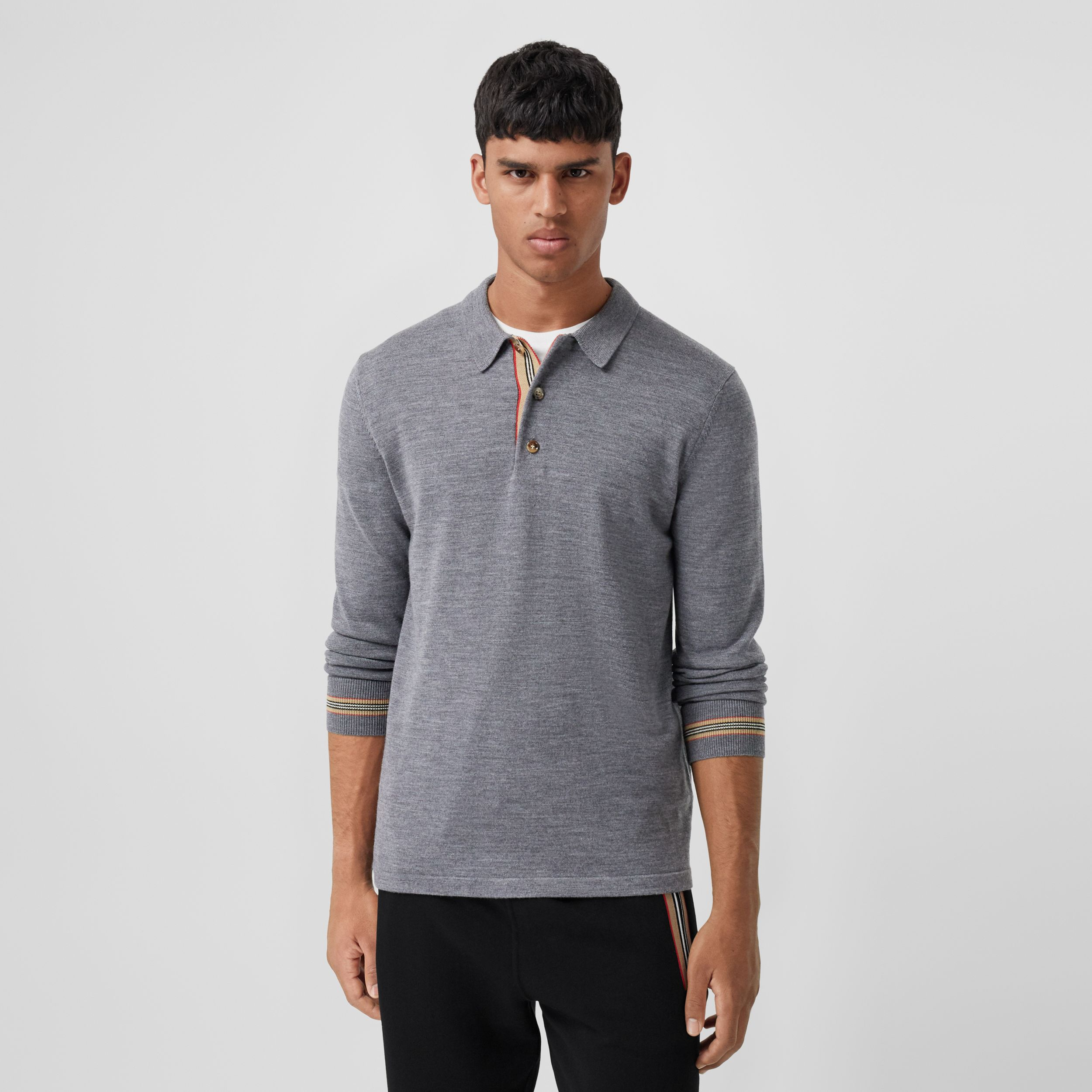 Long-sleeve Icon Stripe Detail Merino Wool Polo Shirt in Mid Grey Melange - Men | Burberry - 1