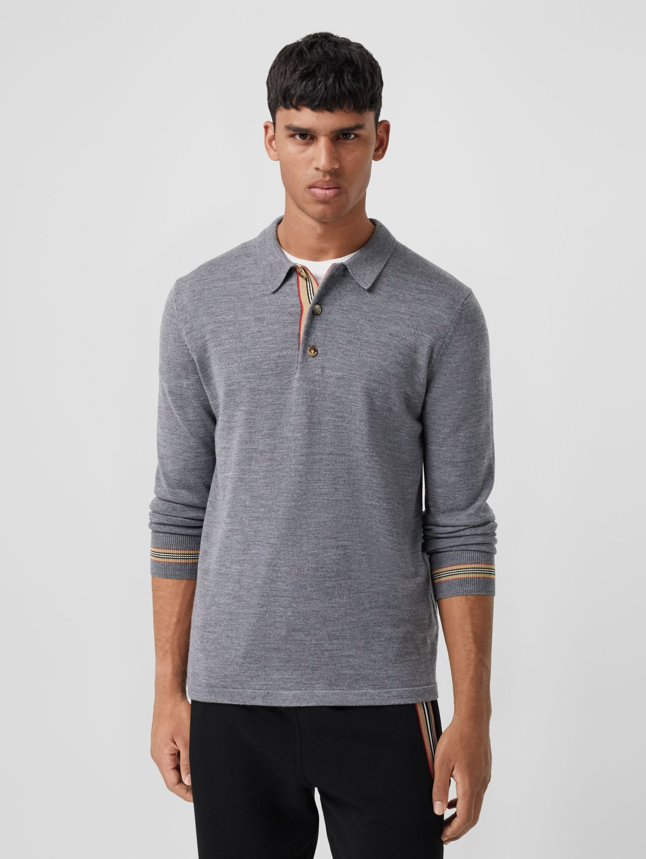 Long-sleeve Icon Stripe Detail Merino Wool Polo Shirt in Mid Grey Melange