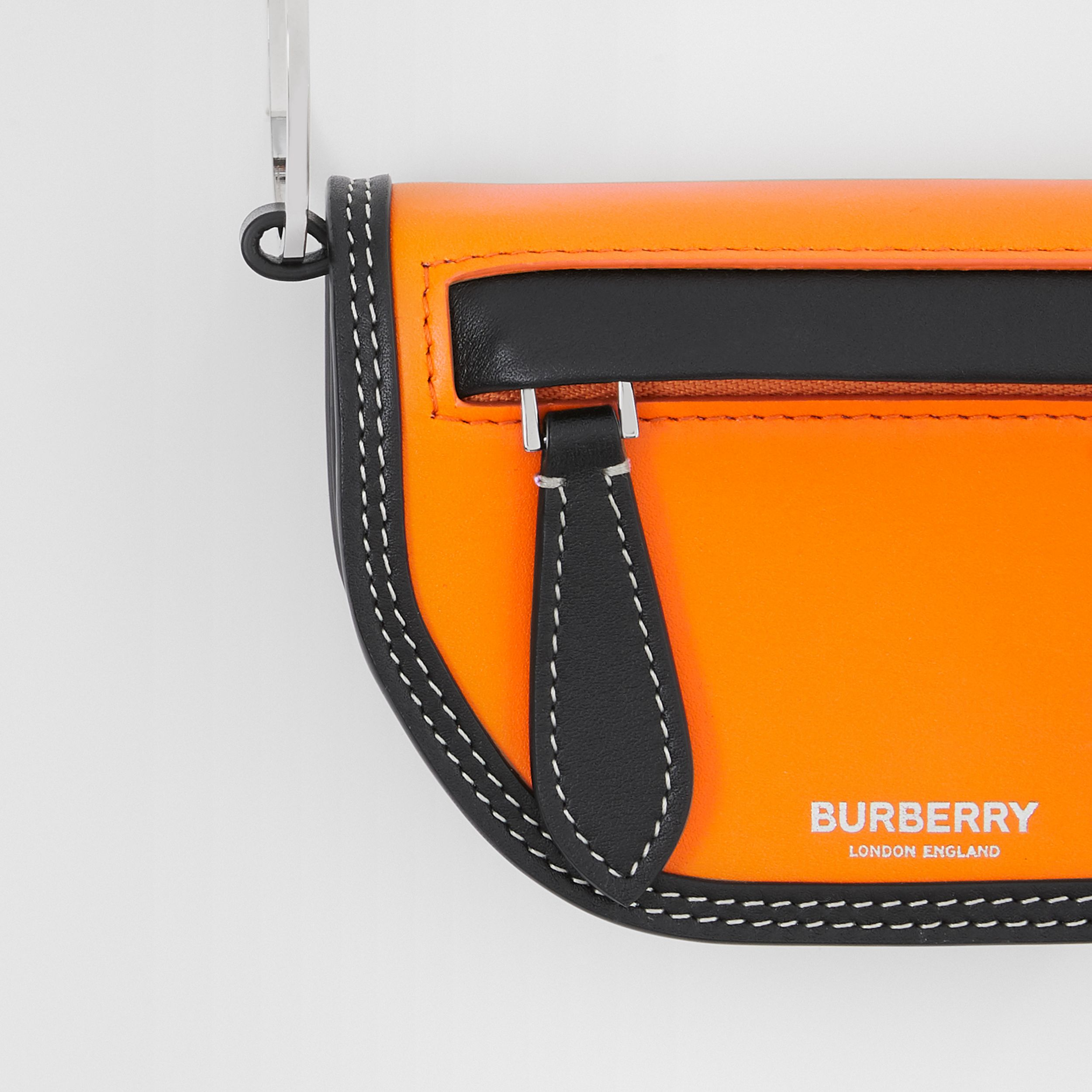 Leather Olympia Card Case with Detachable Strap in Deep Orange - Women | Burberry Canada - 2