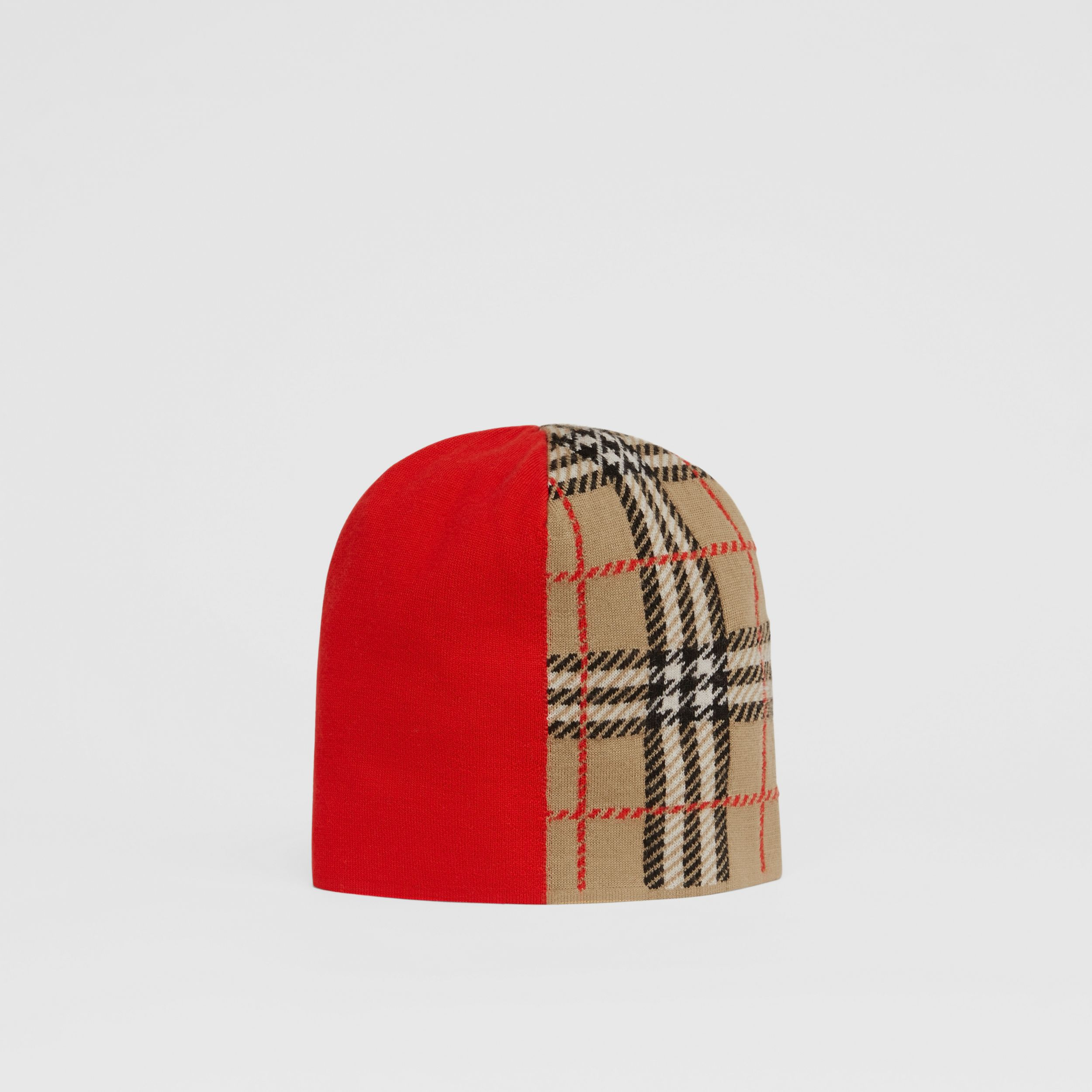Colour Block Check Merino Wool Jacquard Beanie in Bright Red - Children | Burberry - 1
