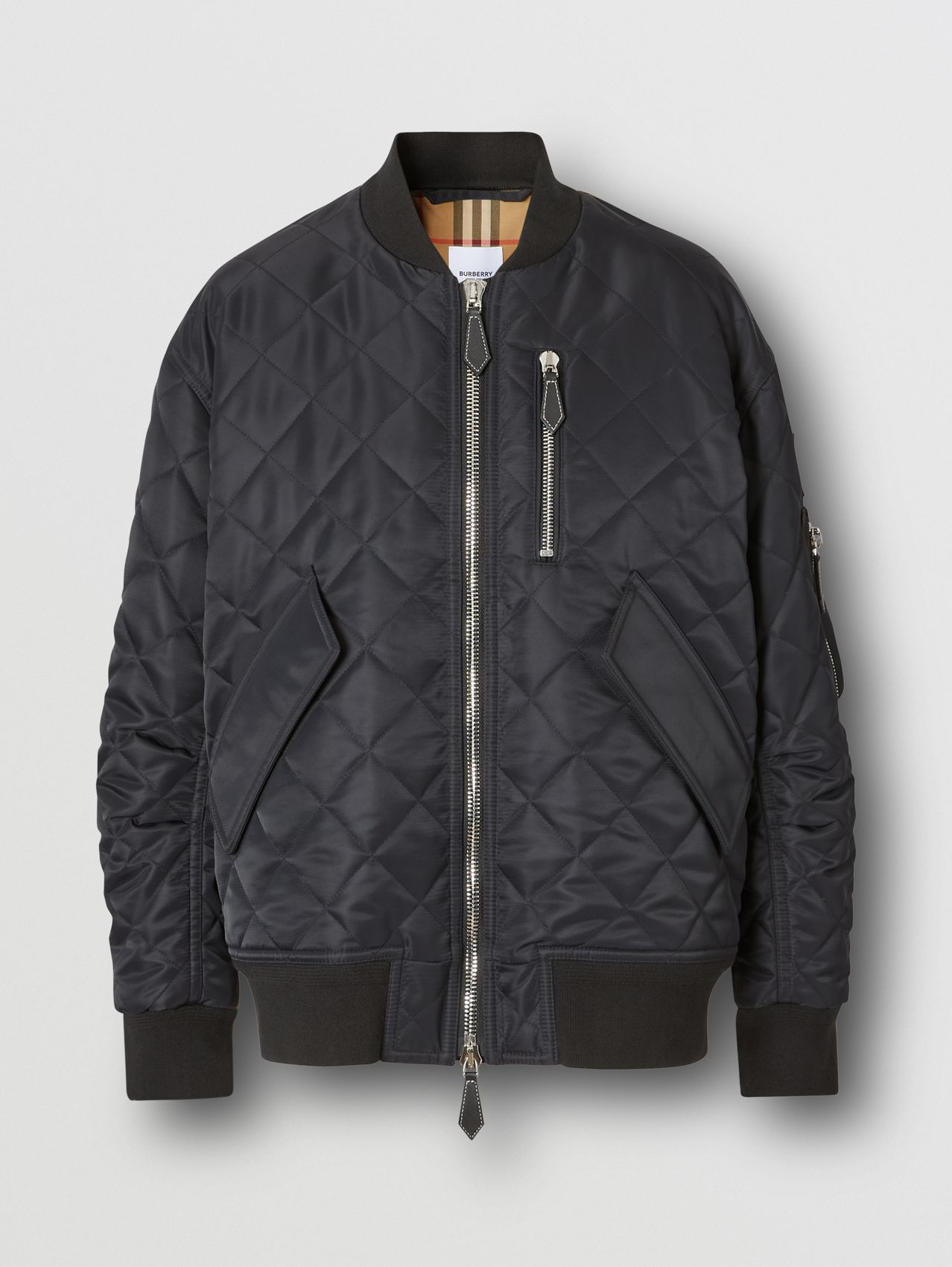 Diamond Quilted Nylon and Cotton Bomber Jacket in Black