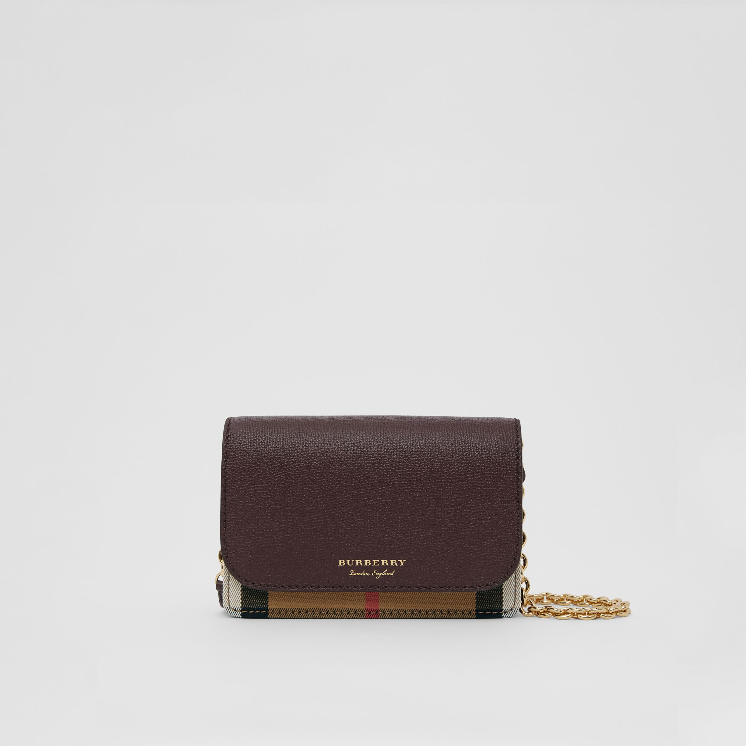 Small Leather and House Check Crossbody Bag in Mahogany Red - Women | Burberry - 1