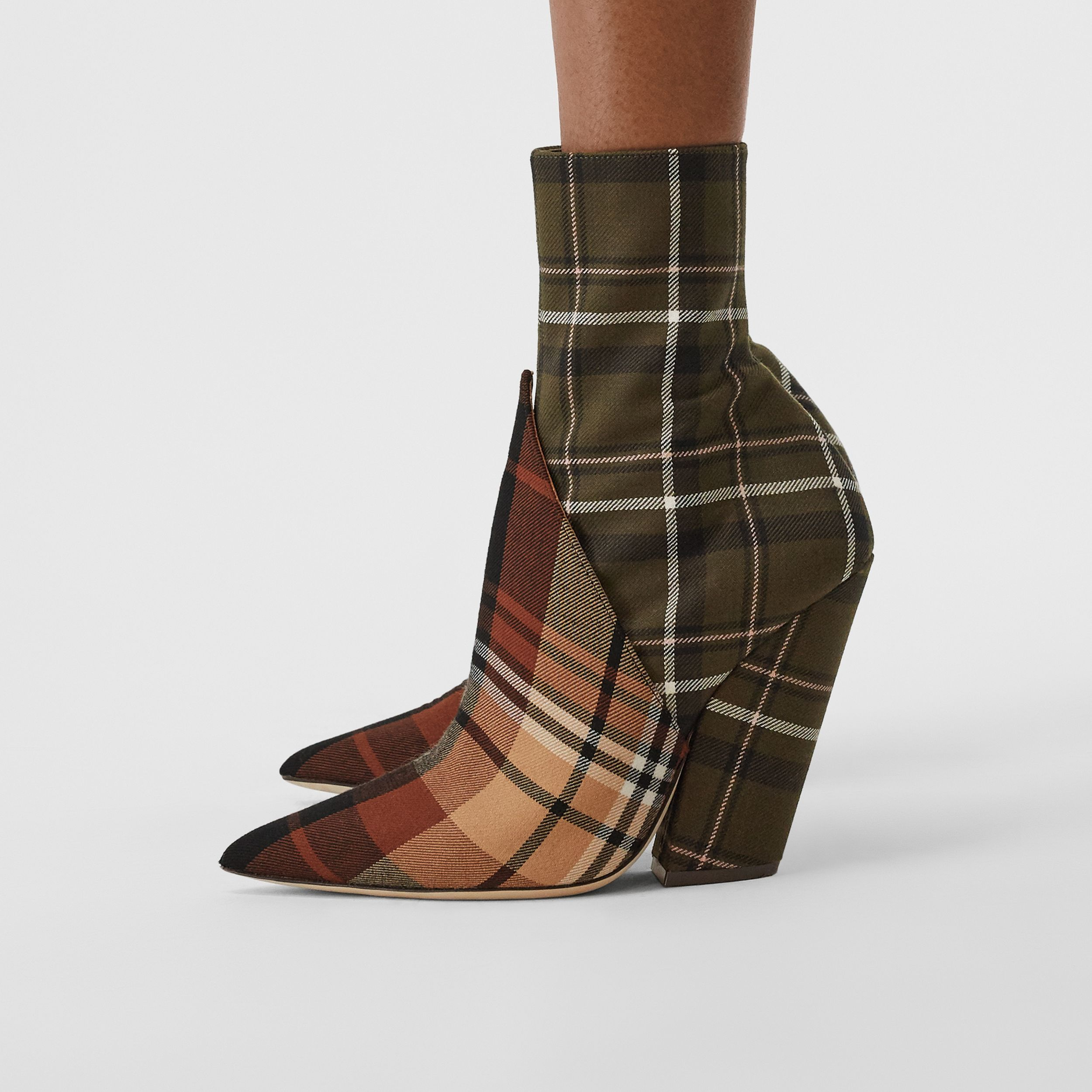 Panelled Contrast Check Wool Ankle Boots in Dark Khaki Green - Women | Burberry Hong Kong S.A.R. - 3
