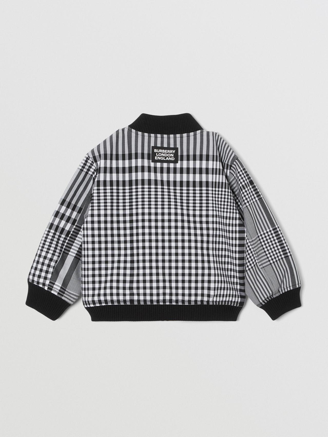 Reversible Check Cotton Bomber Jacket in Black