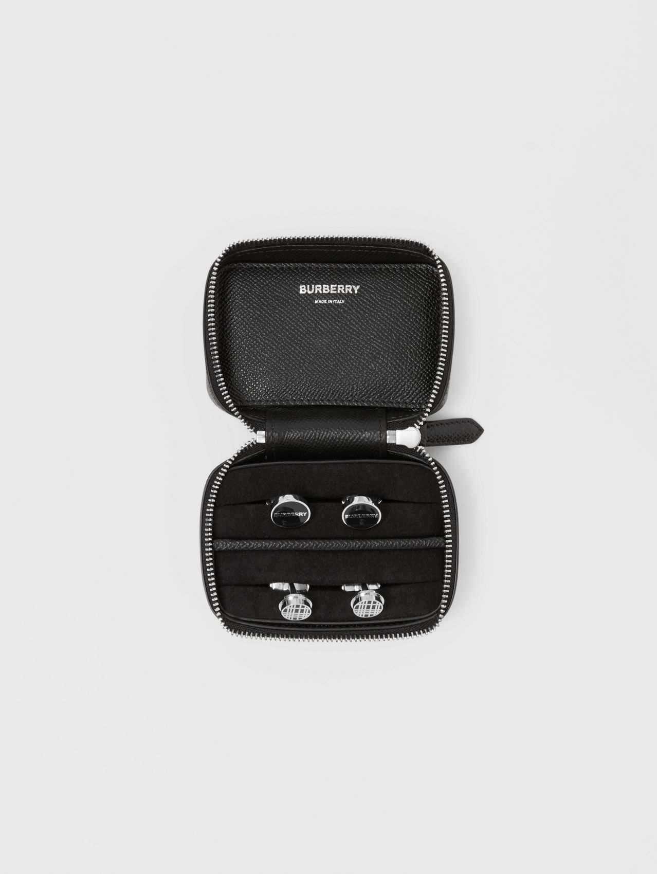 Icon Stripe Print Grainy Leather Cufflink Case in Black