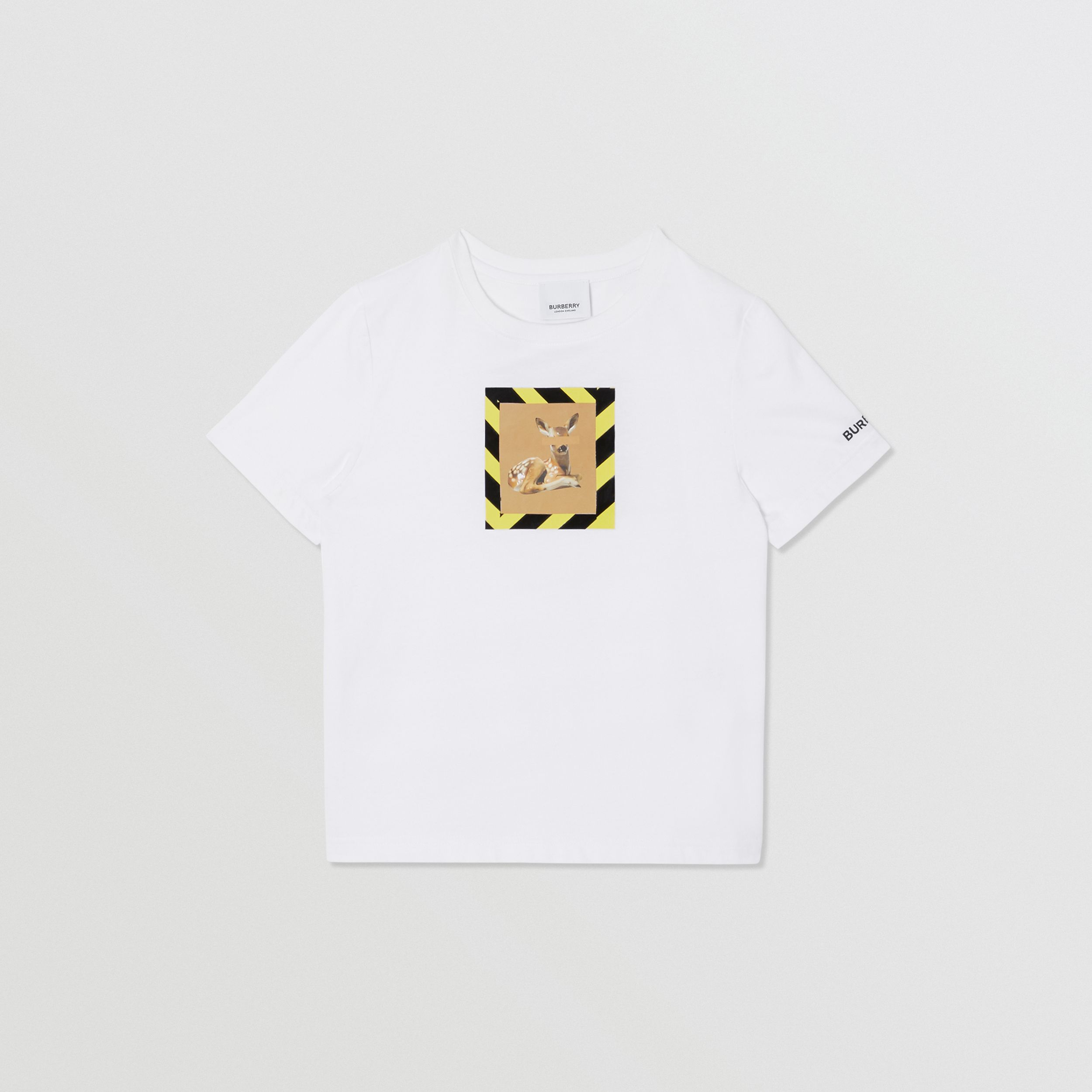 Deer Print Cotton T-shirt in White | Burberry - 1