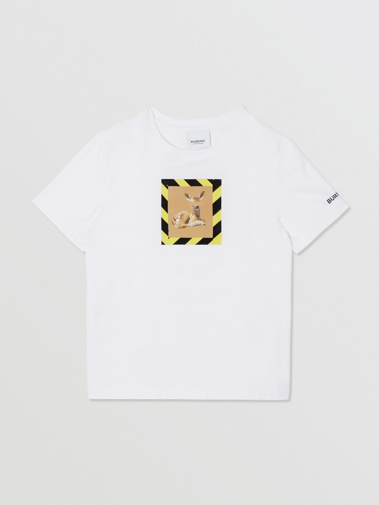 Deer Print Cotton T-shirt (White)