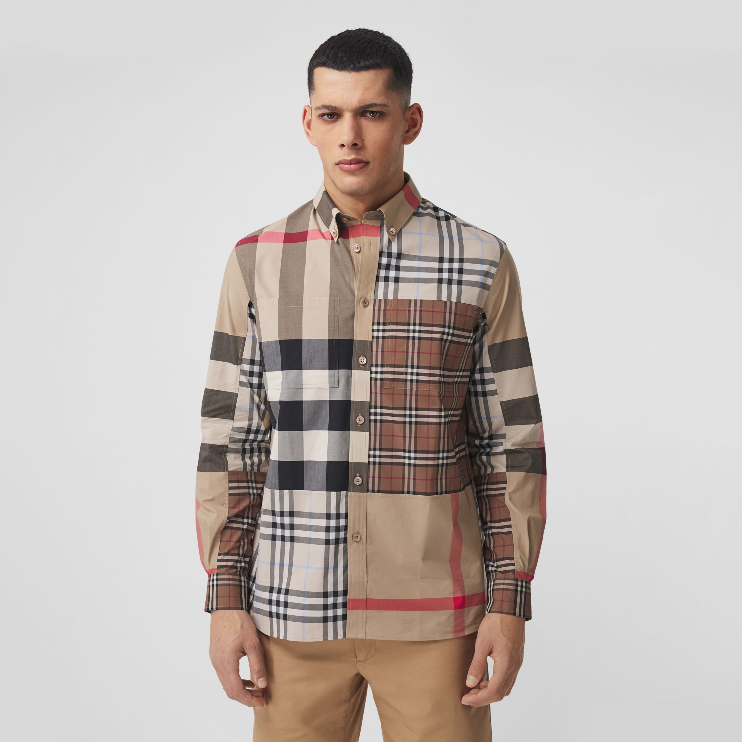 Contrast Check Stretch Cotton Poplin Shirt in Light Almond - Men | Burberry United Kingdom - 1