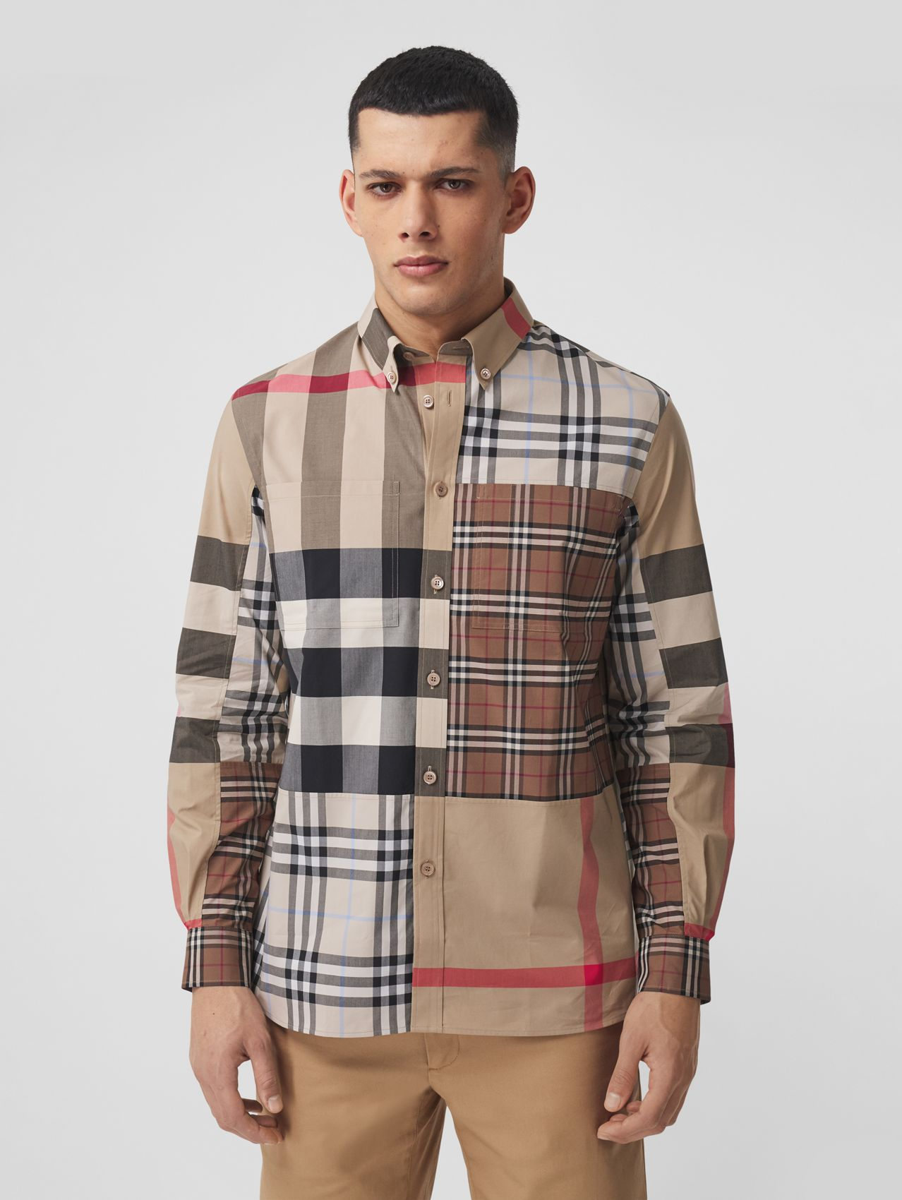 Contrast Check Stretch Cotton Poplin Shirt in Light Almond