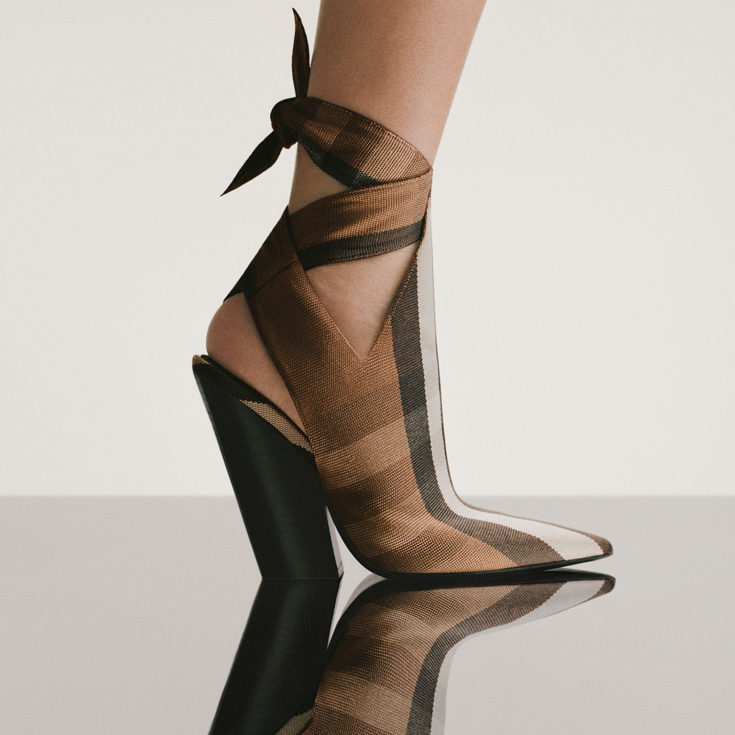 Tie Detail Check Technical Cotton Point-toe Mules in Birch Brown - Women | Burberry - 2