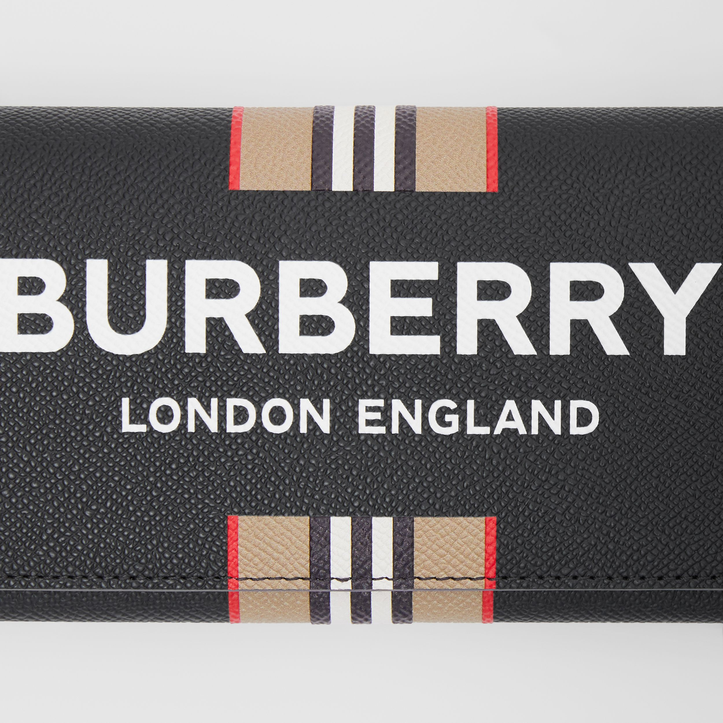Logo Print Leather Wallet with Detachable Strap in Black - Men | Burberry - 2
