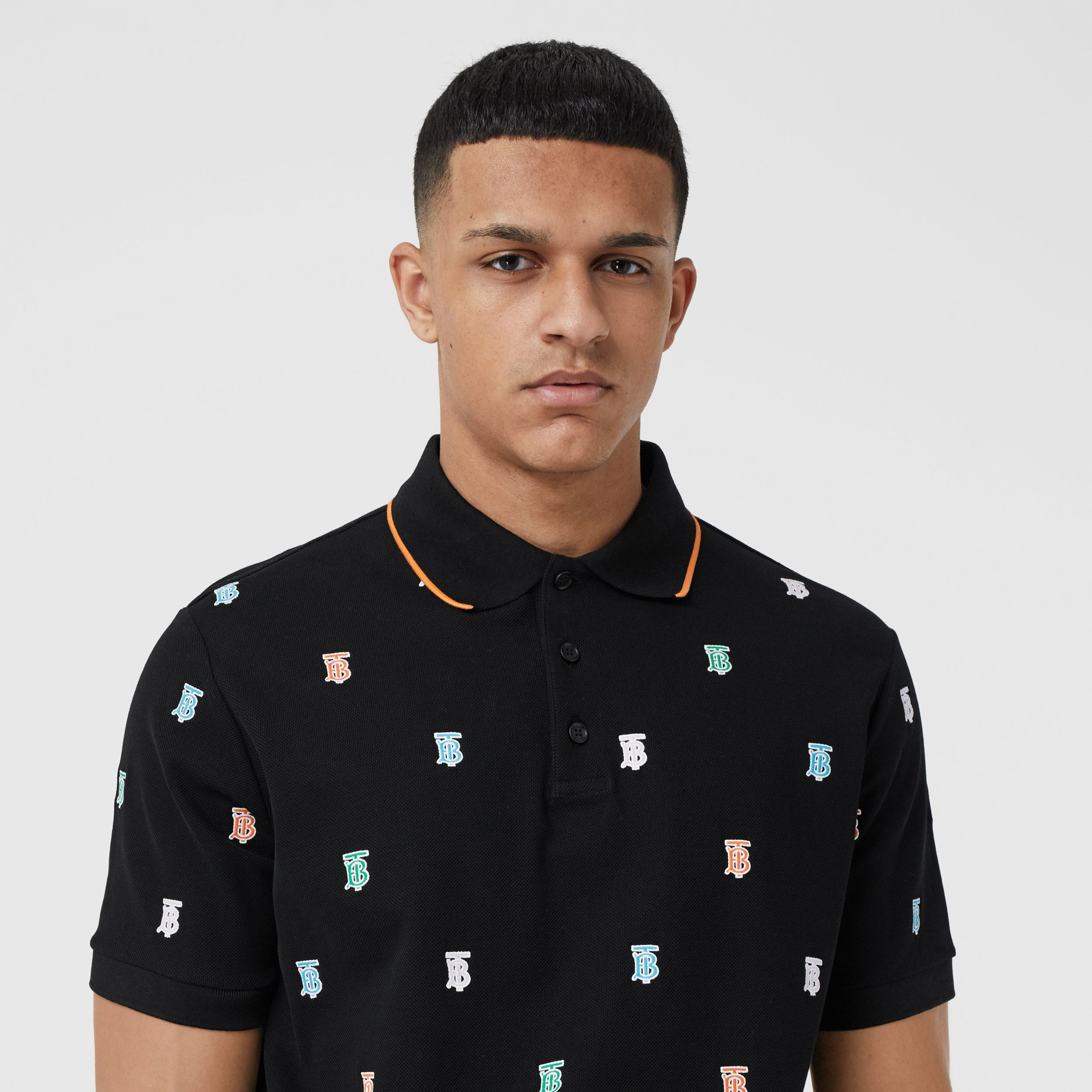 Monogram Motif Cotton Piqué Polo Shirt in Black - Men | Burberry - 2