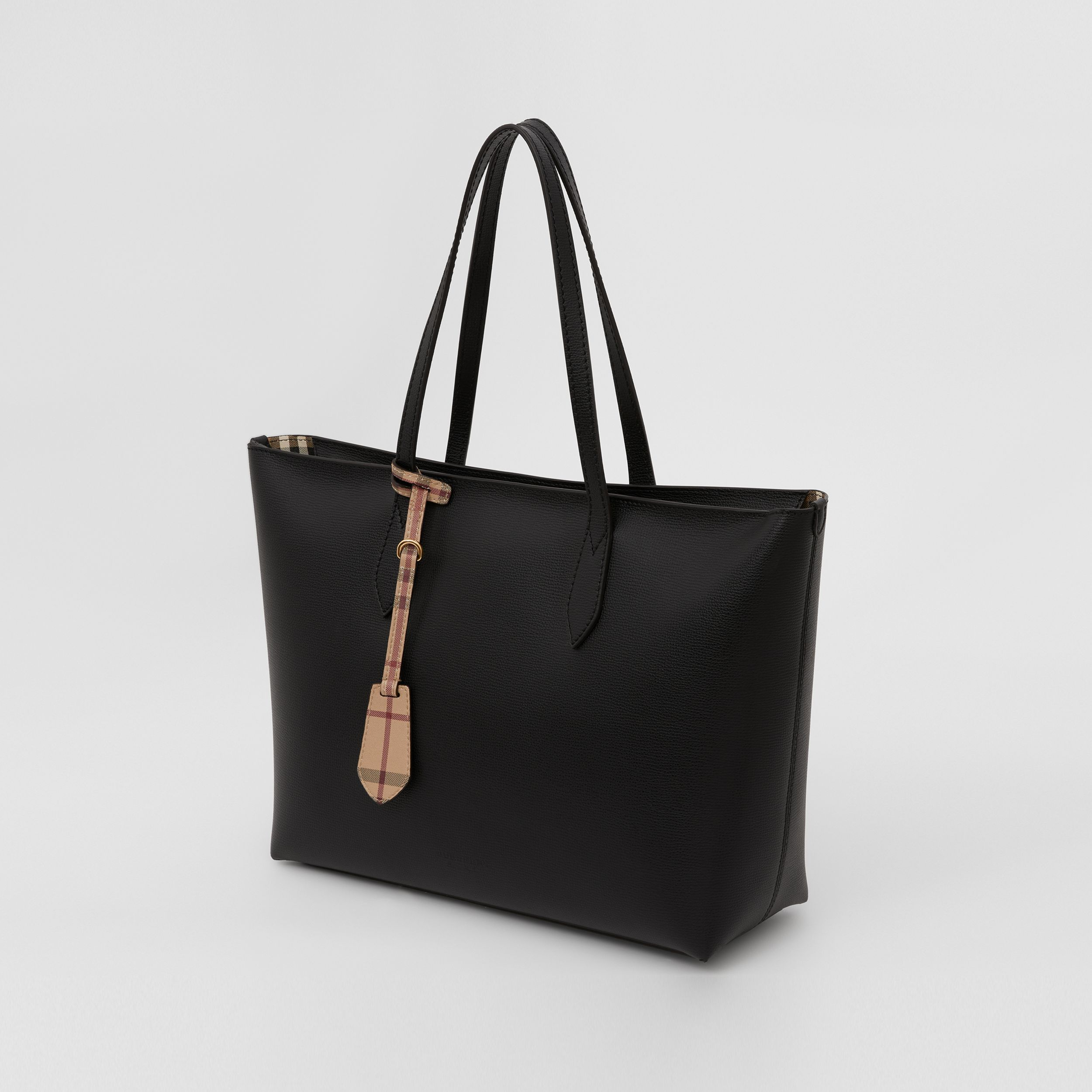 Medium Coated Leather Tote in Black - Women | Burberry - 3