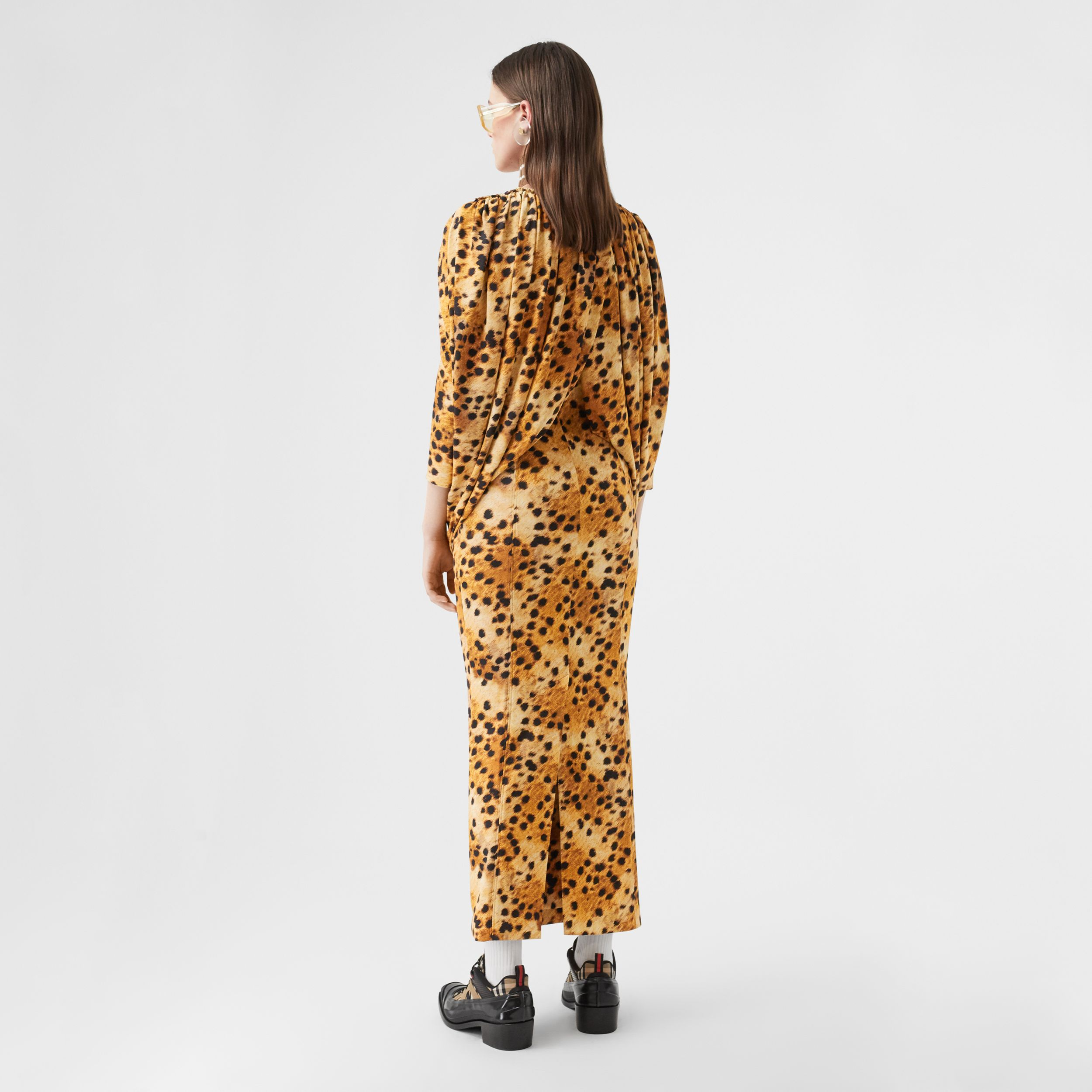 Sash Detail Spotted Monkey Print Dress in Nutmeg - Women | Burberry - 2