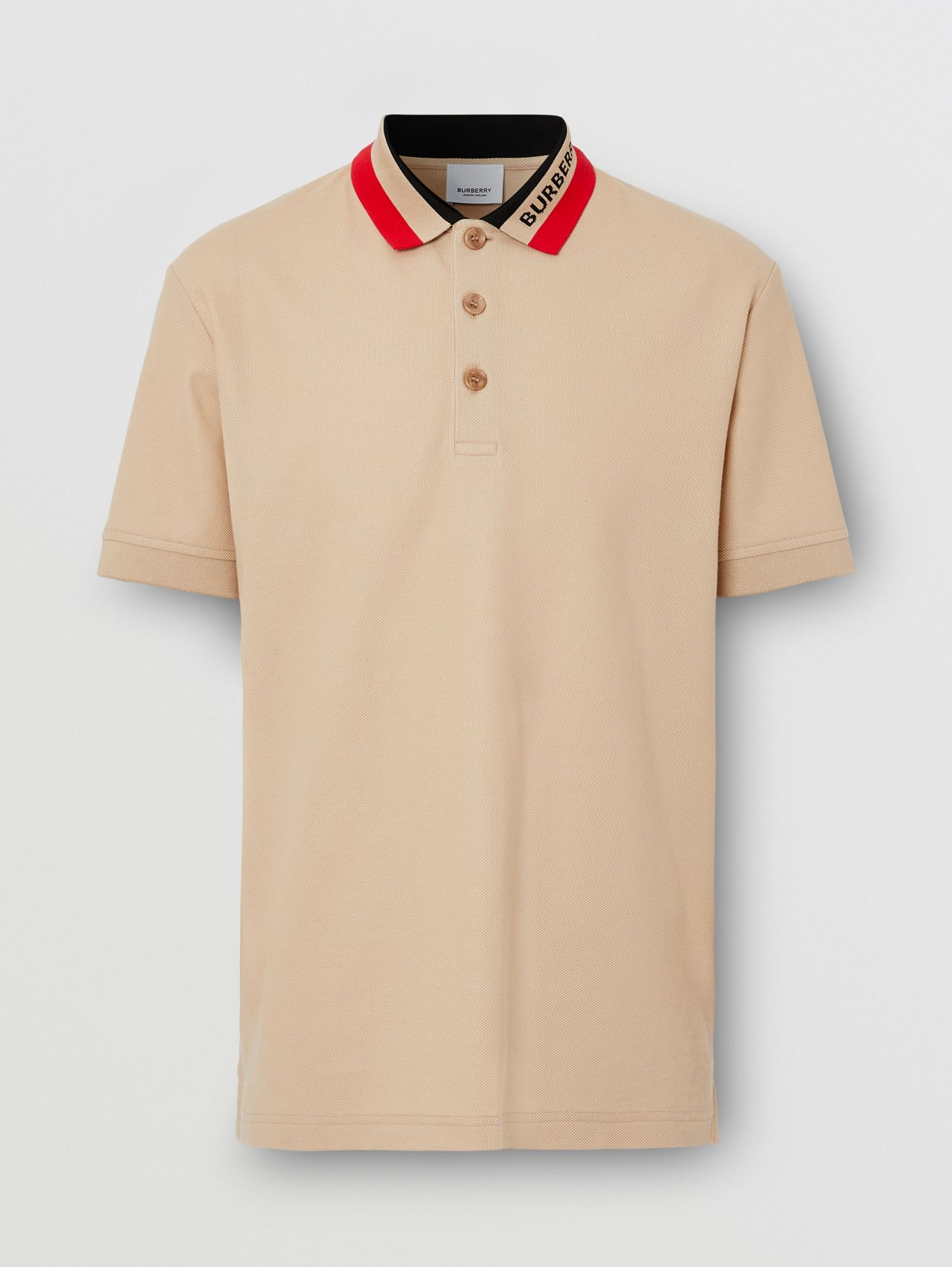 Logo Detail Cotton Piqué Polo Shirt in Soft Fawn