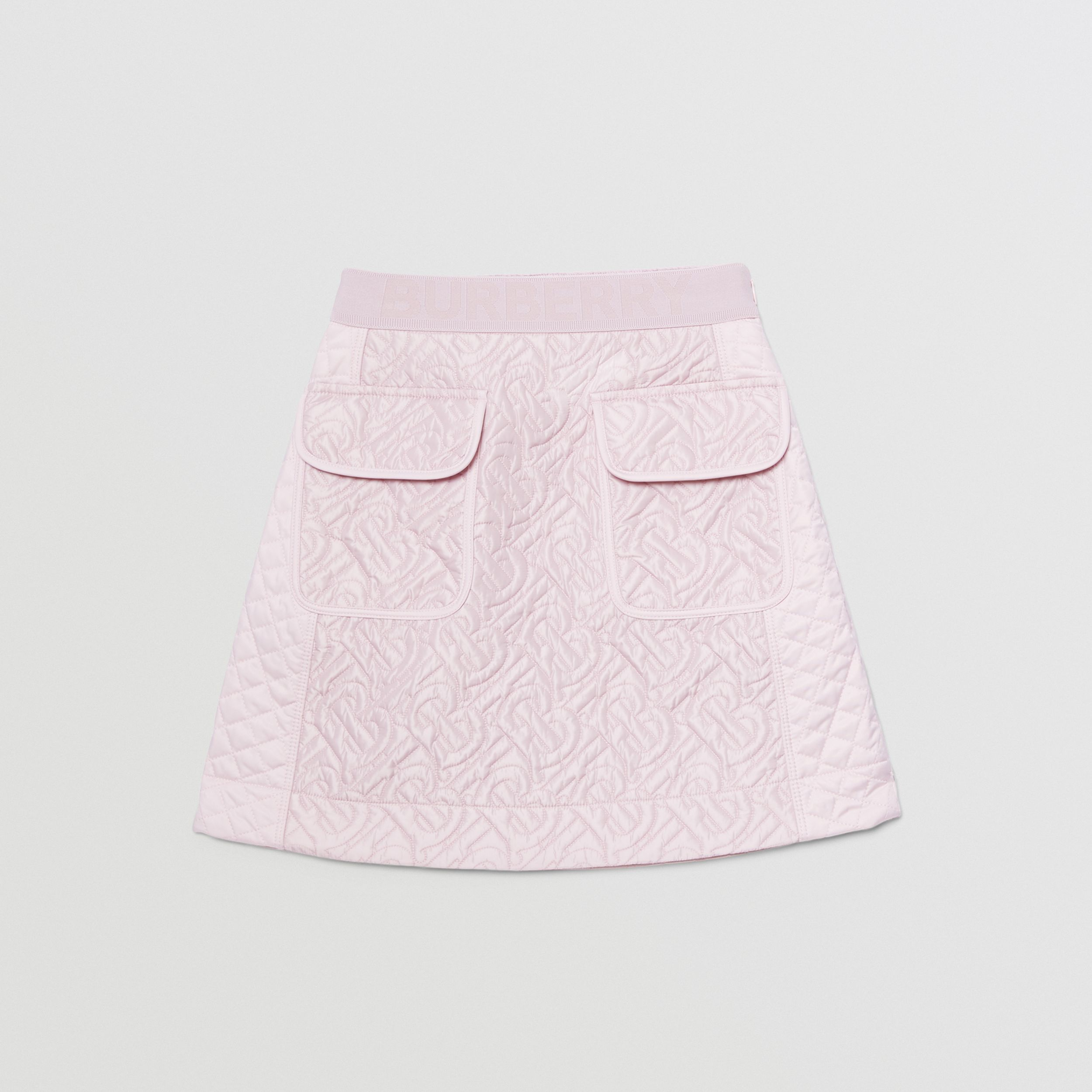 Monogram Quilted Panel Recycled Polyester Skirt in Pastel Pink | Burberry - 1