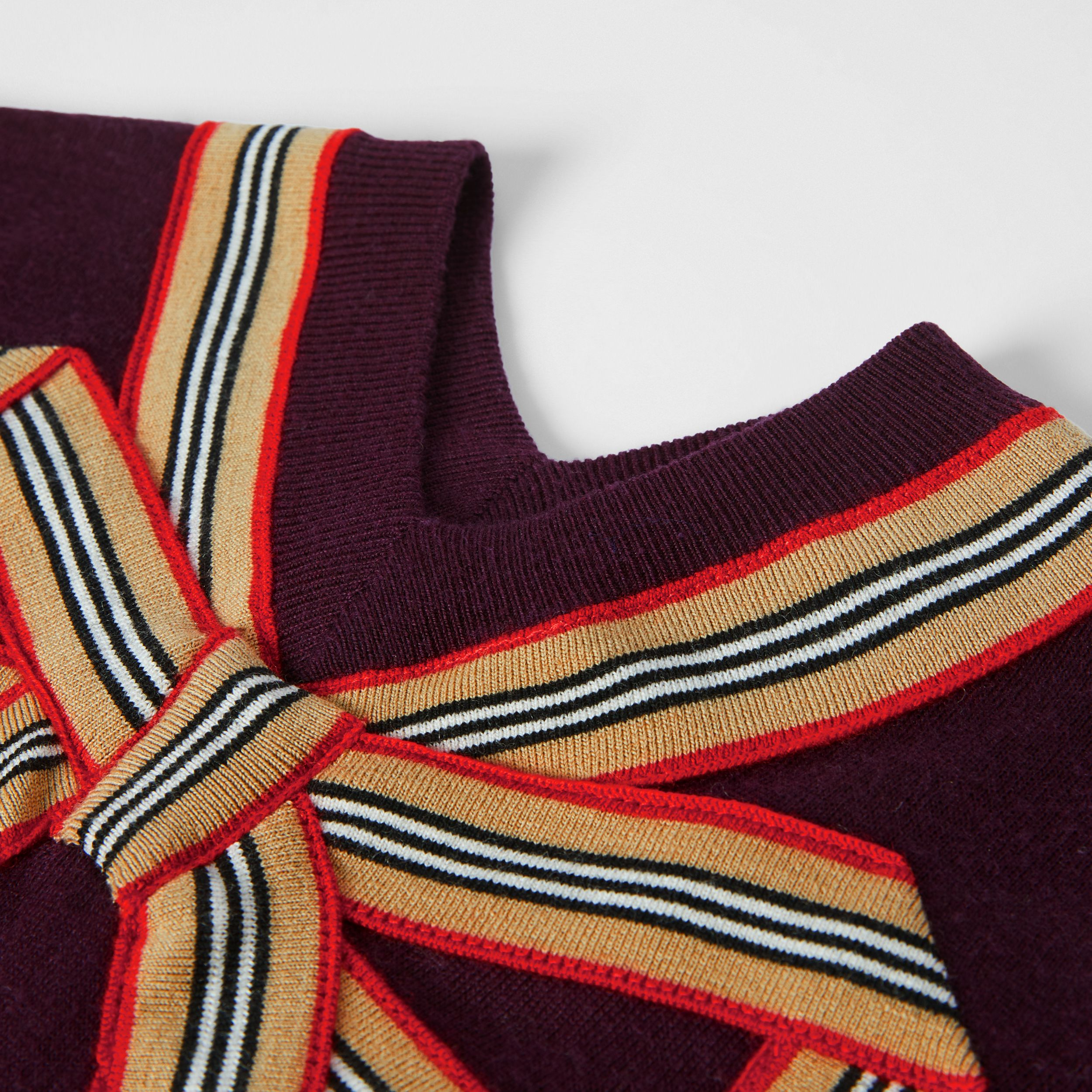 Icon Stripe Bow Merino Wool Silk Sweater Dress in Burgundy | Burberry Australia - 2