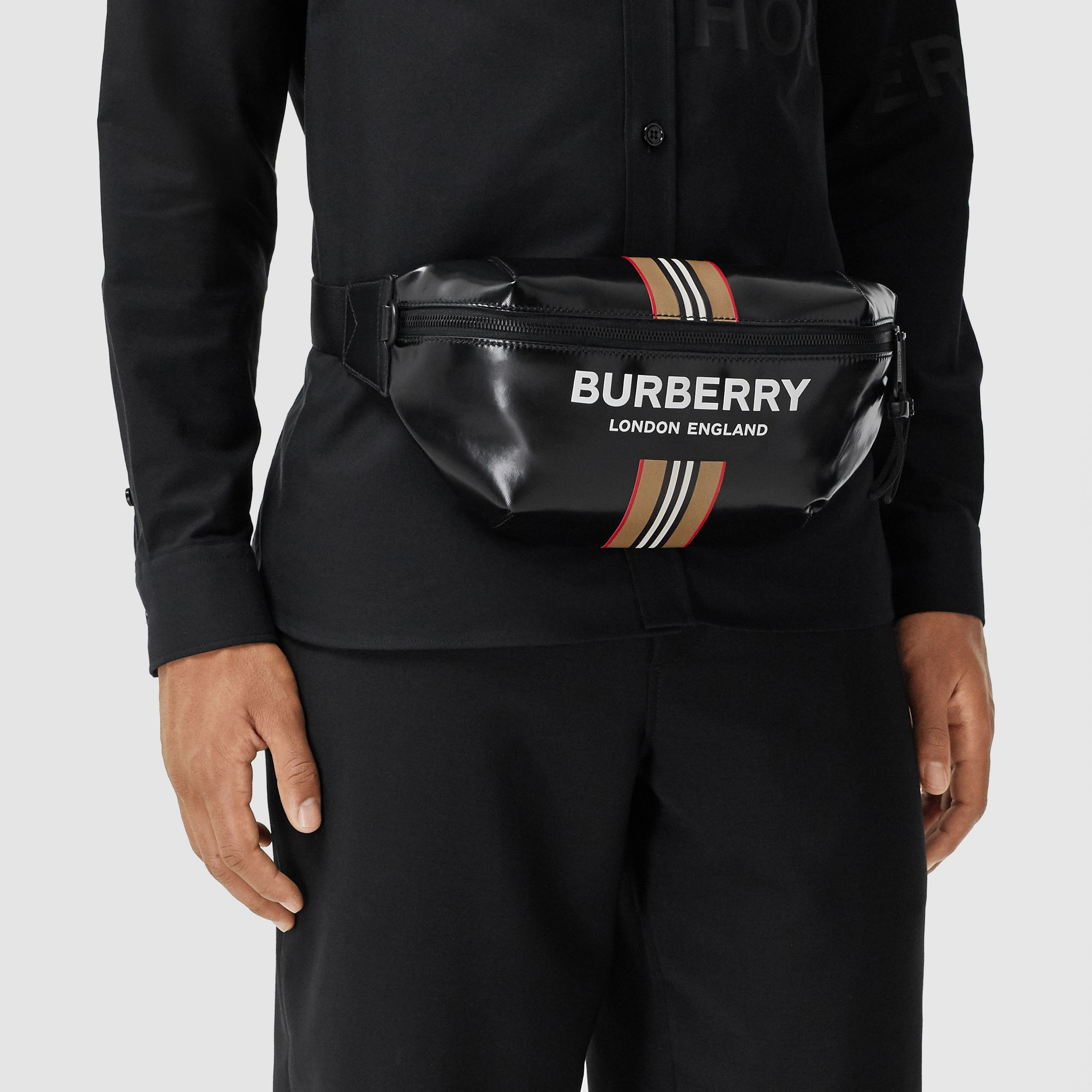 Logo and Icon Stripe Print Sonny Bum Bag in Black - Men | Burberry Australia - 4