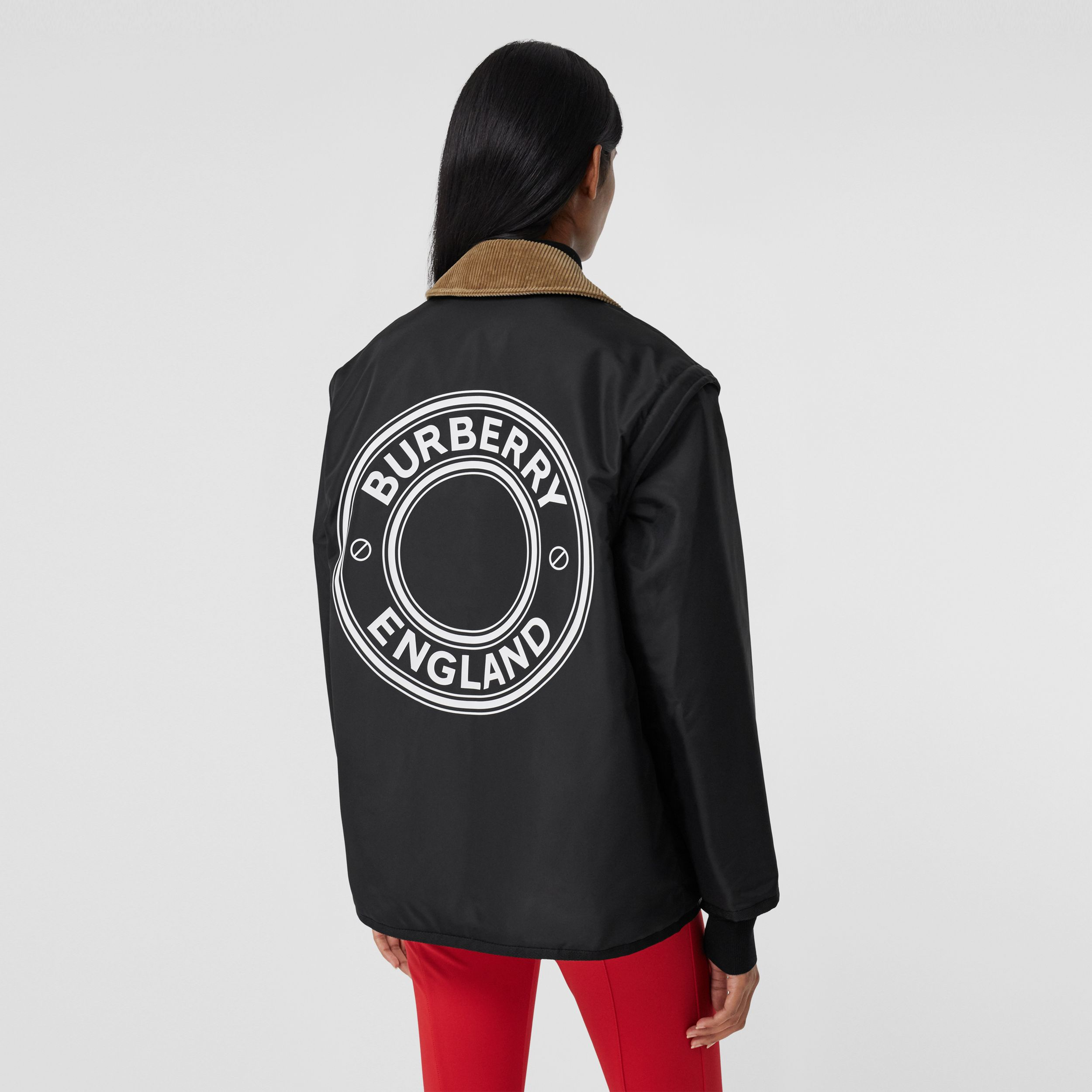 Detachable Sleeve Reversible Logo Graphic Jacket in Black - Women | Burberry - 3