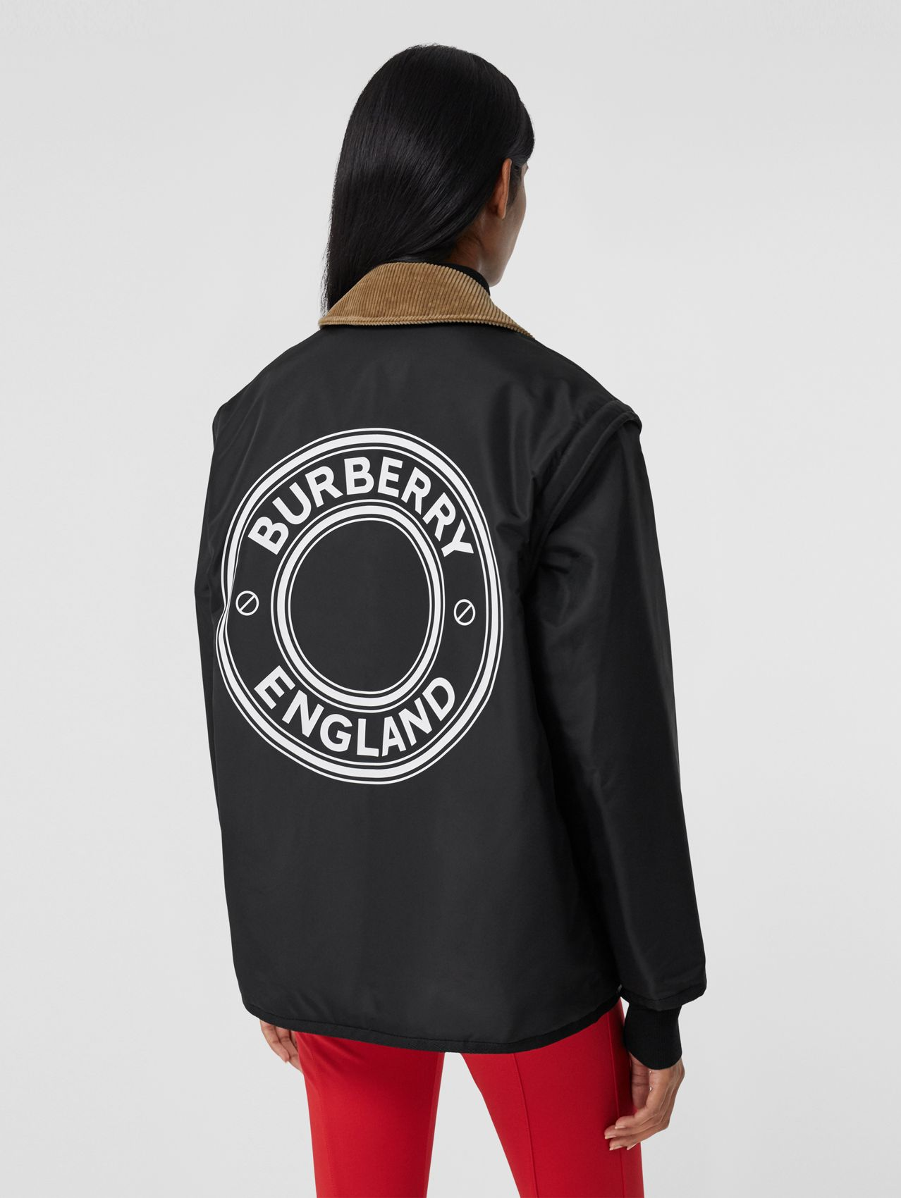Detachable Sleeve Reversible Logo Graphic Jacket in Black