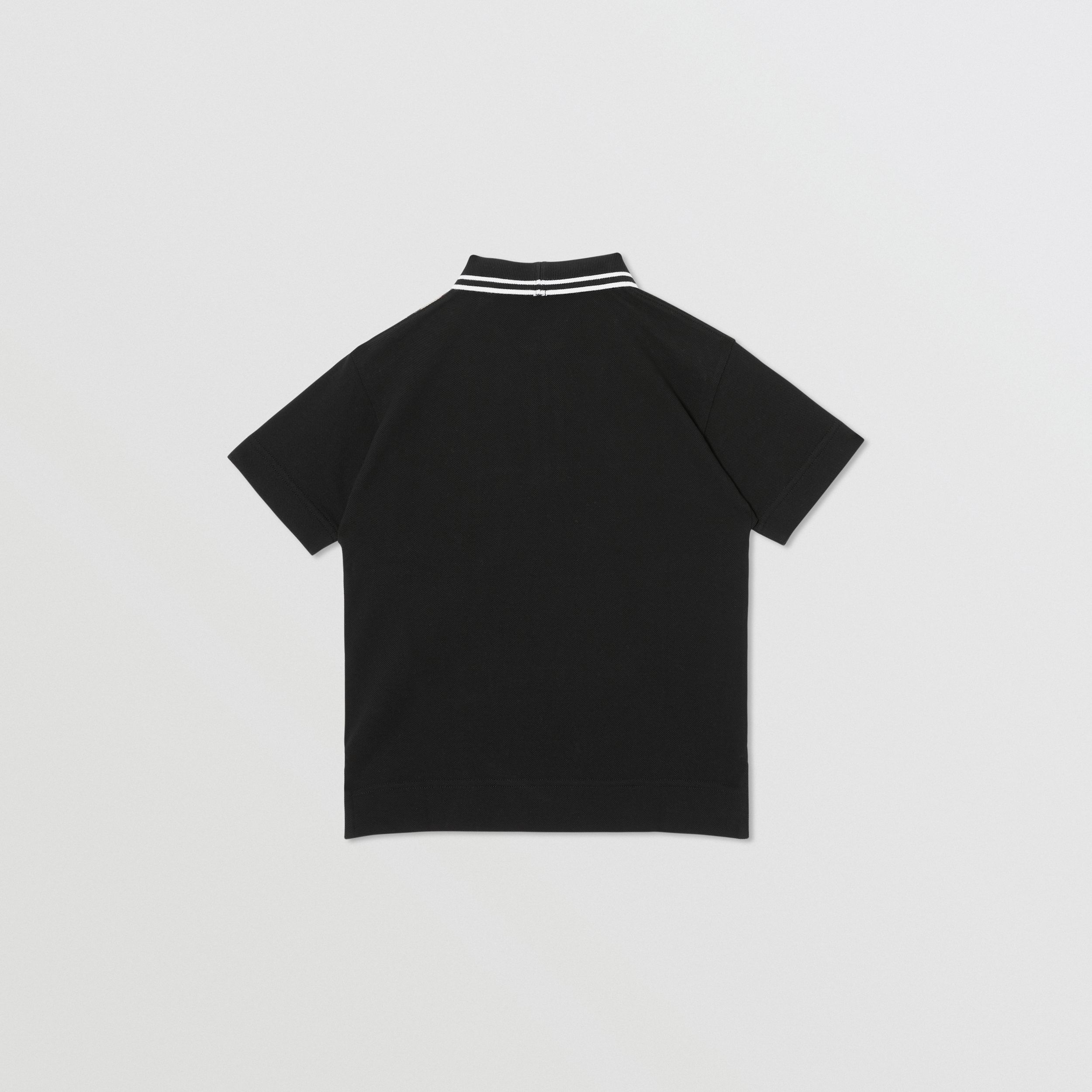 Vintage Check Panel Cotton Zip-front Polo Shirt in Black | Burberry - 4