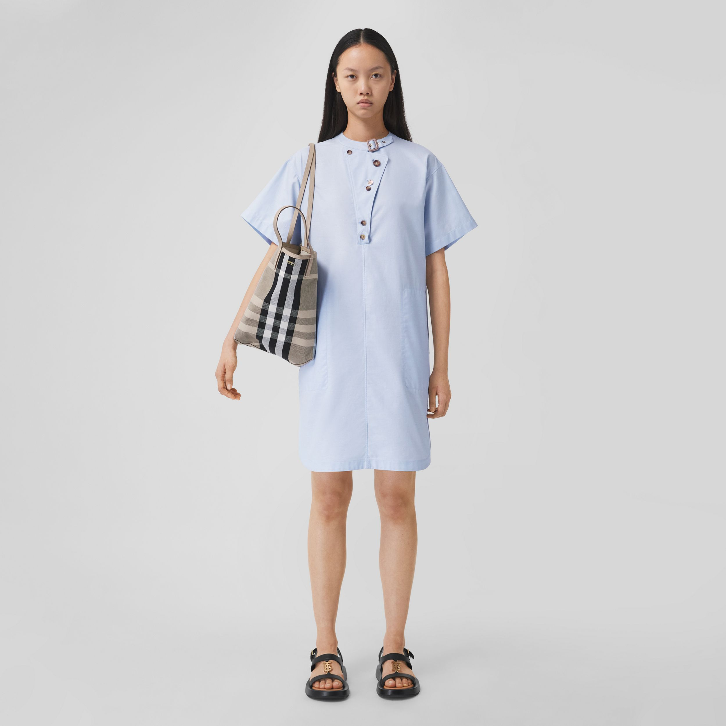 Short-sleeve Cotton Oxford Smock Dress in Pale Blue - Women | Burberry - 1