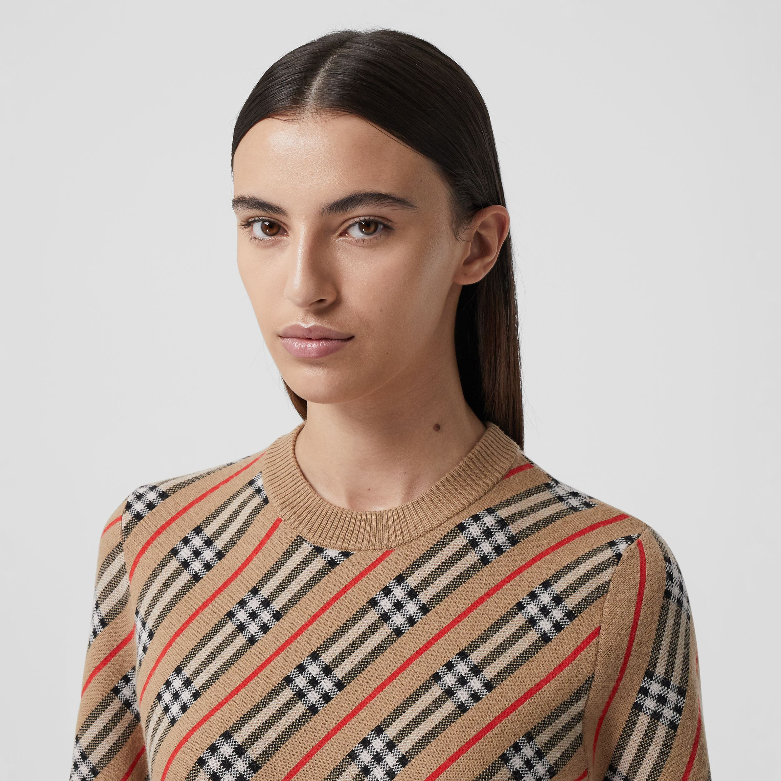 Stripe Merino Wool Blend Sweater in Camel - Women | Burberry Canada - 2