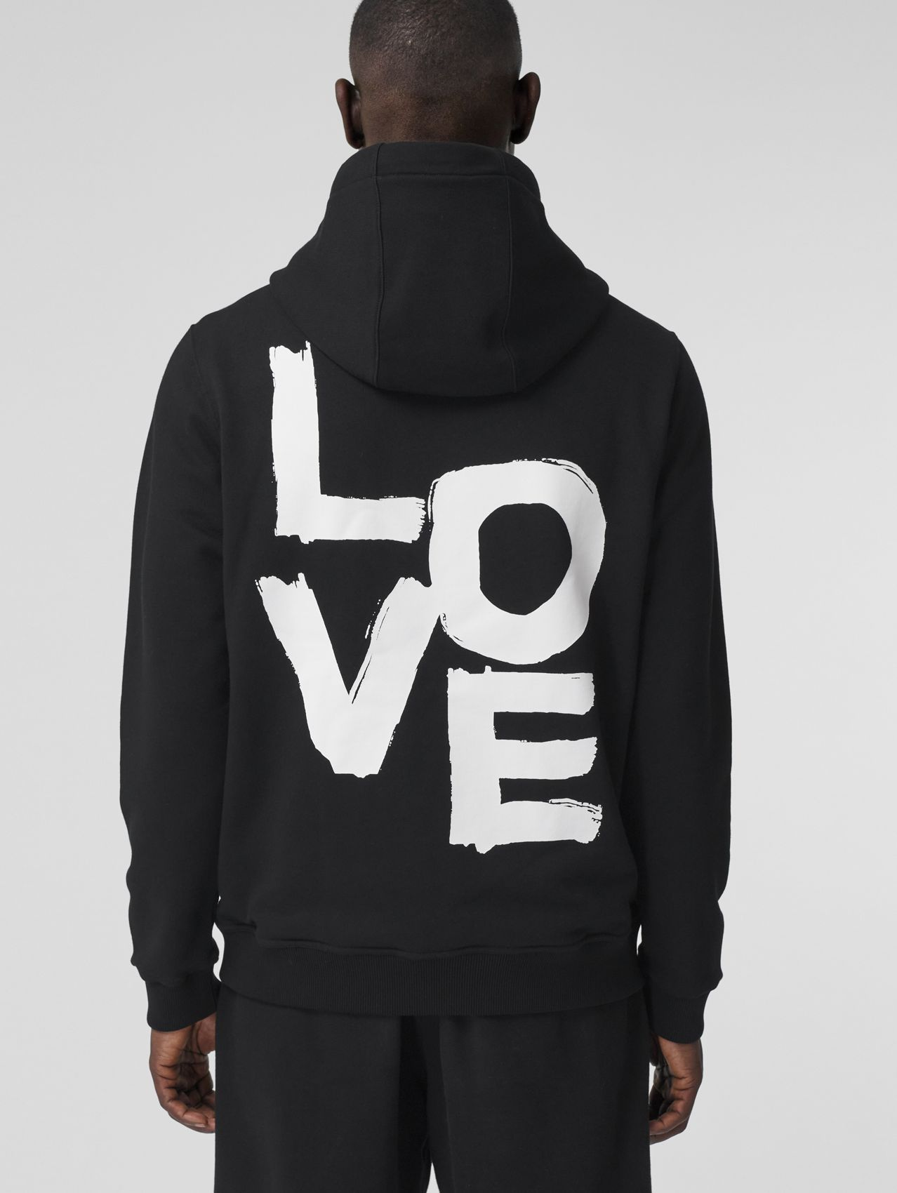 Love Print Cotton Hooded Top in Black