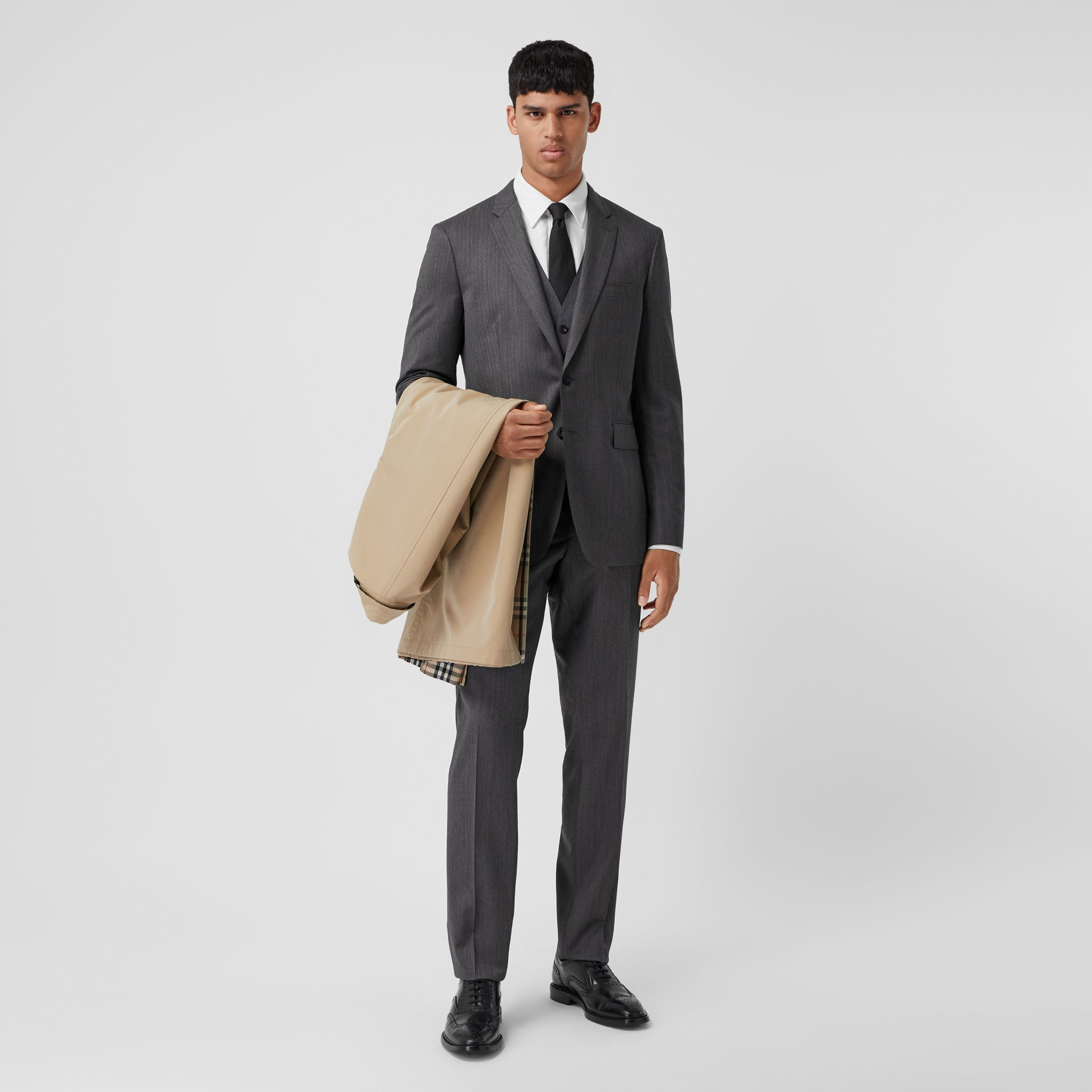 Slim Fit Herringbone Wool Suit in Mid Grey - Men | Burberry - 1