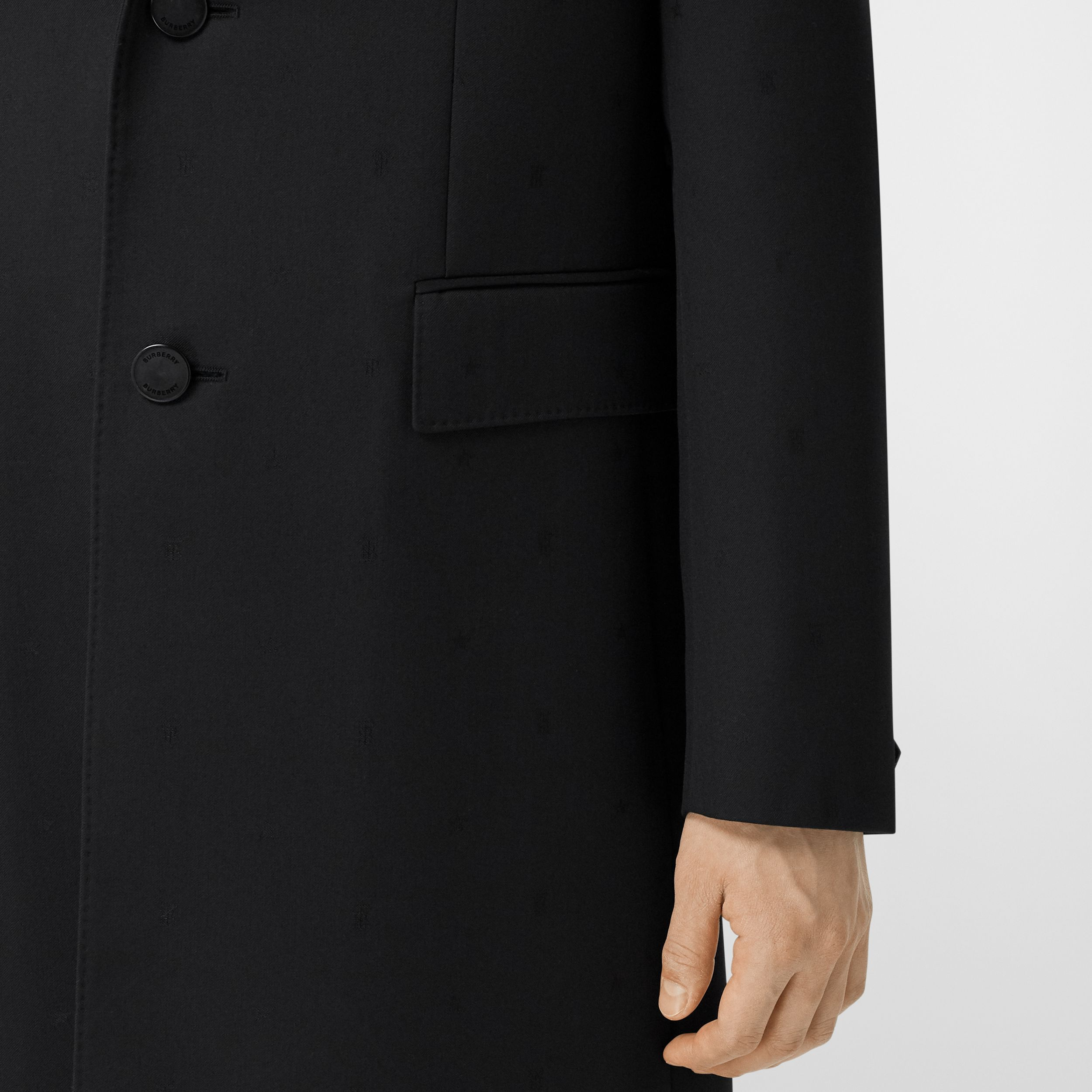 Wool Silk Tailored Coat in Black - Men | Burberry - 4