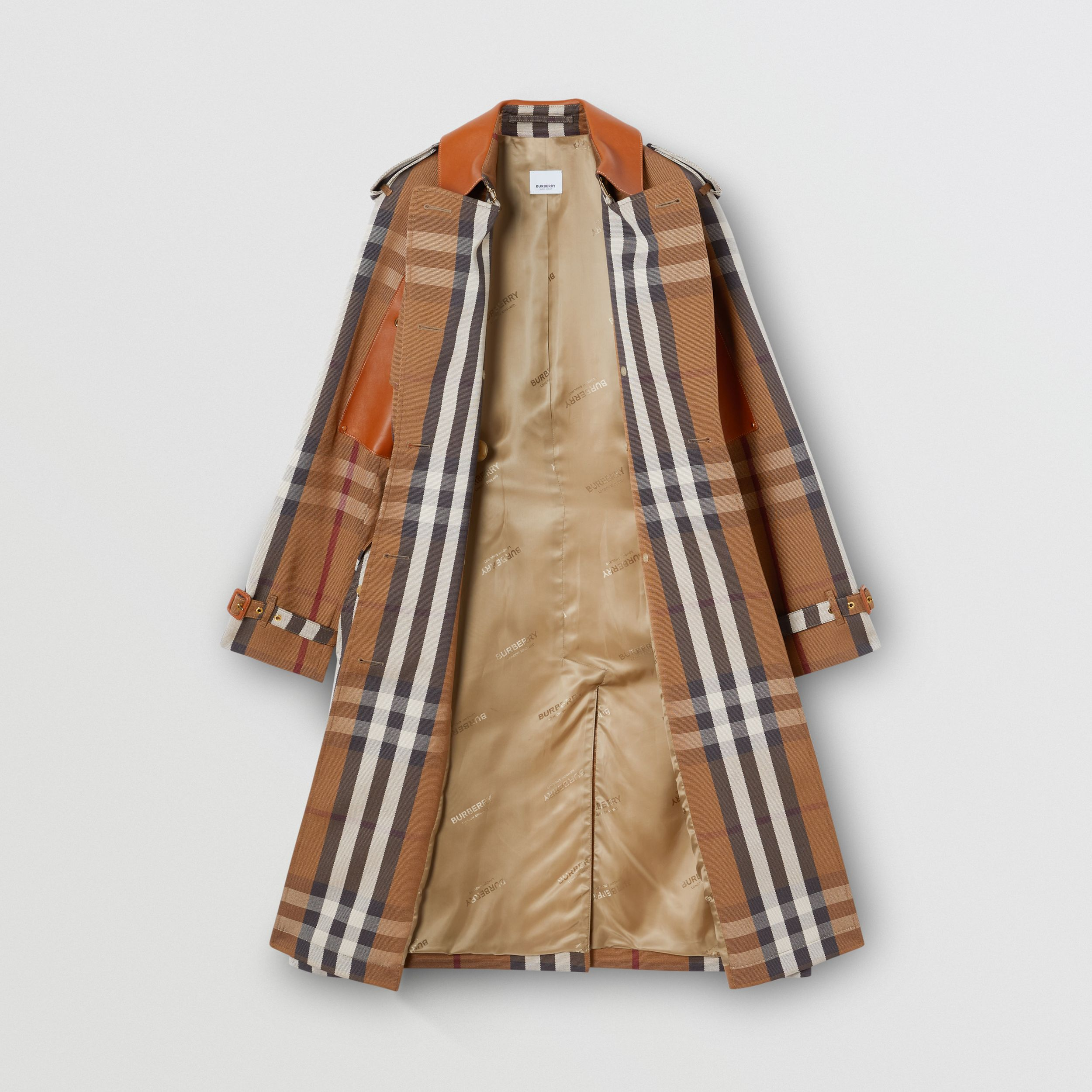 Leather Panel Check Technical Cotton Trench Coat in Birch Brown - Women | Burberry Canada - 4