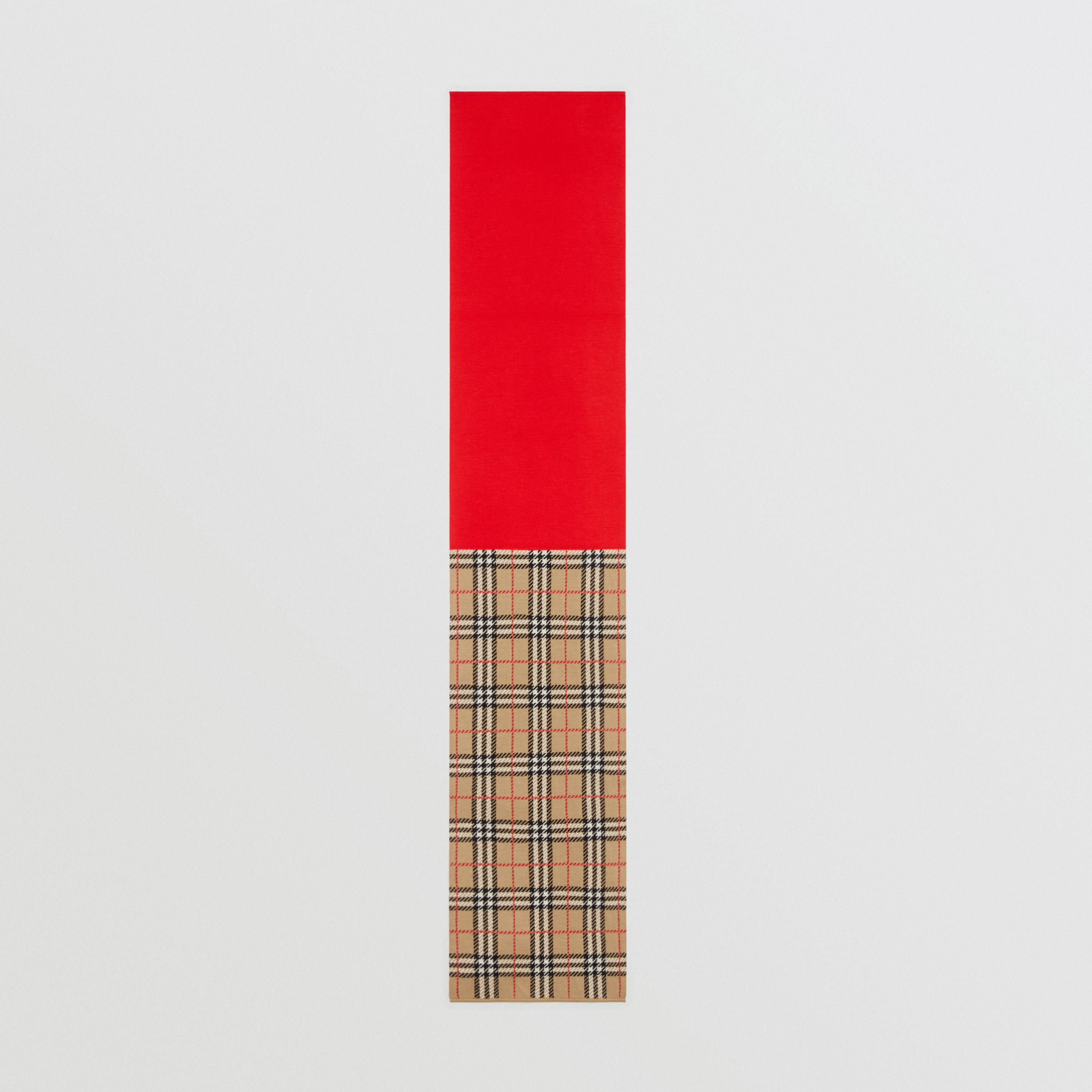 Colour Block Check Merino Wool Jacquard Scarf in Bright Red - Children | Burberry - 3