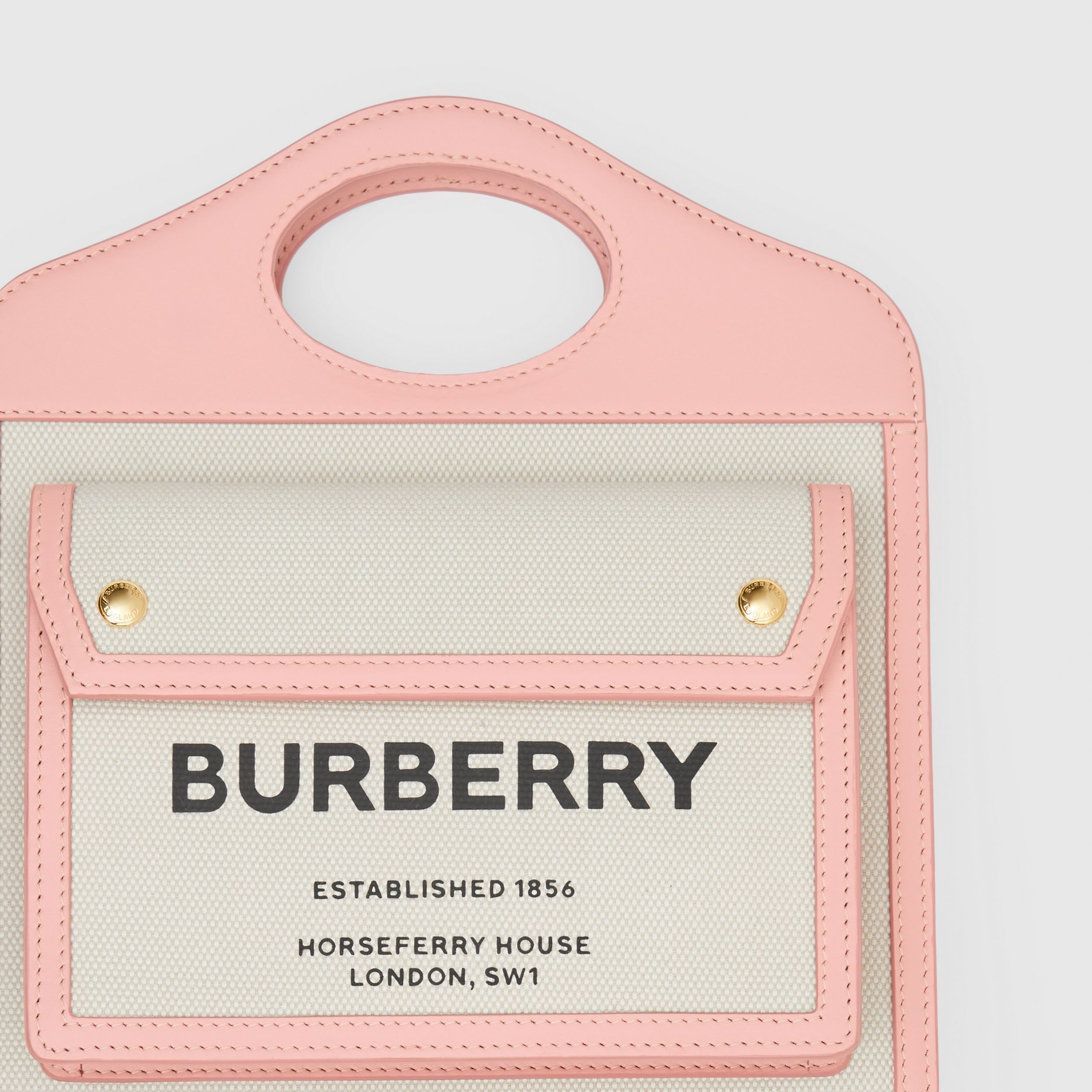 Mini Two-tone Canvas and Leather Pocket Bag in Blush Pink - Women | Burberry - 2