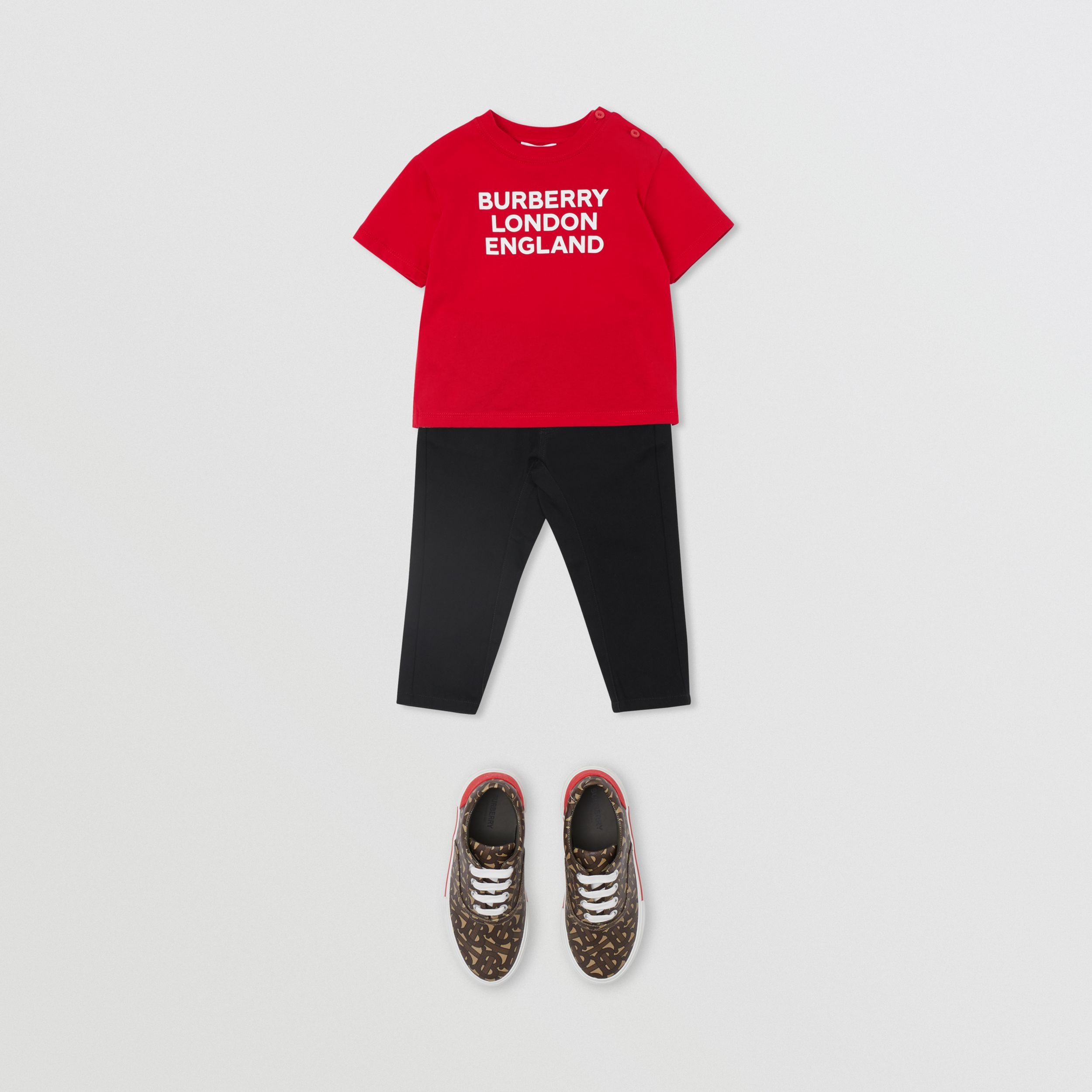 Logo Print Cotton T-shirt in Bright Red - Children | Burberry Canada - 4