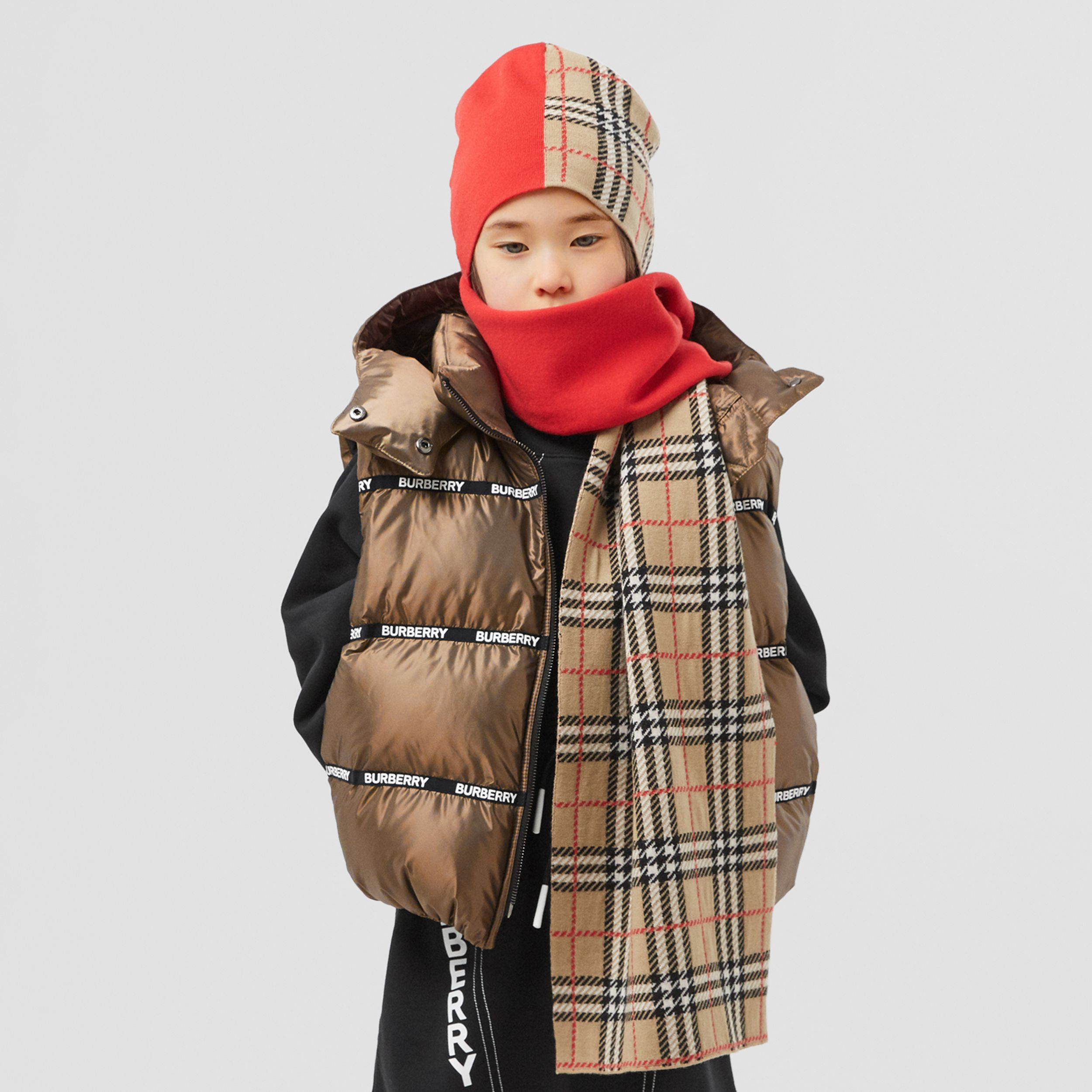 Logo Tape Hooded Puffer Gilet in Smoke | Burberry - 3