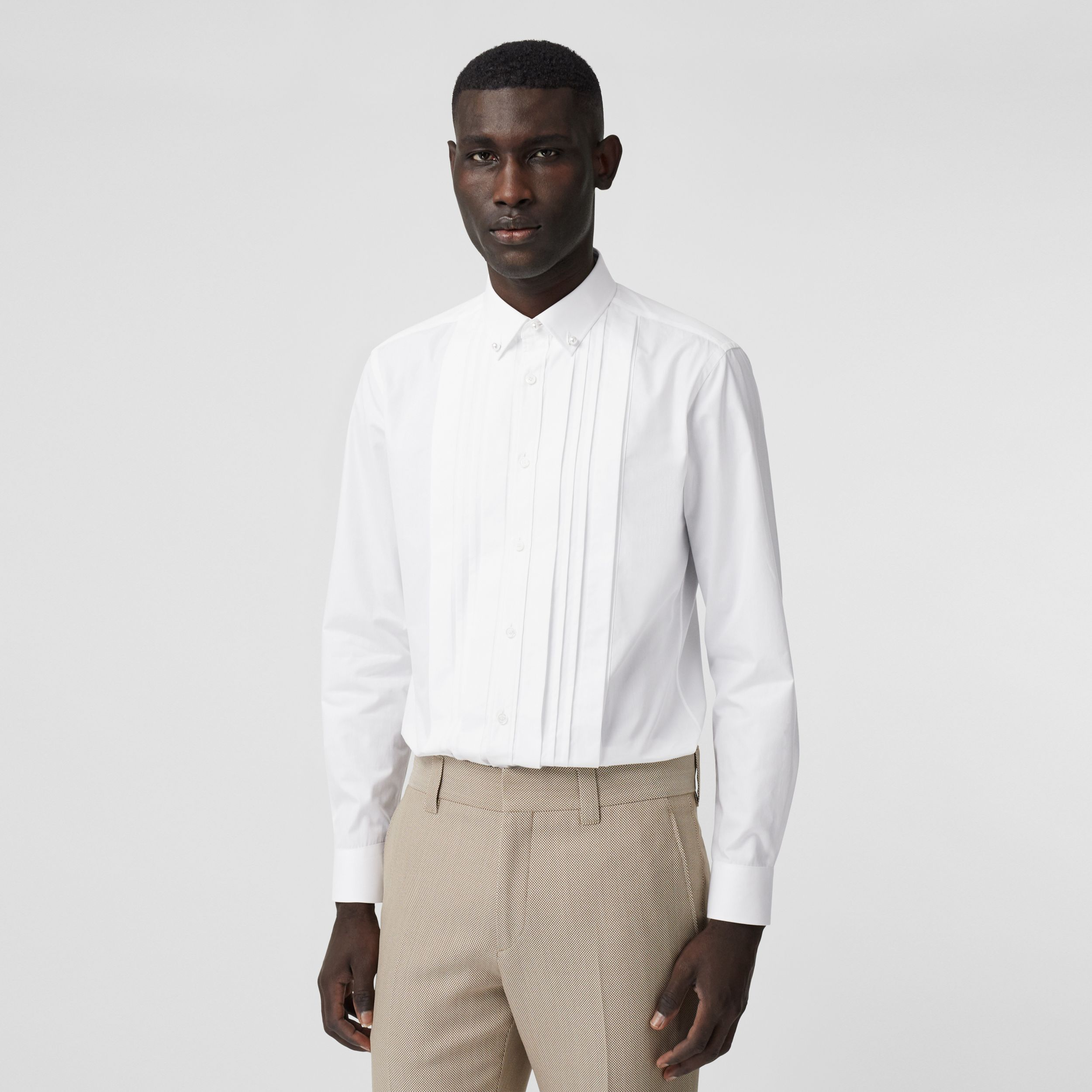 Resin Pearl Detail Cotton Poplin Dress Shirt in White - Men | Burberry - 1