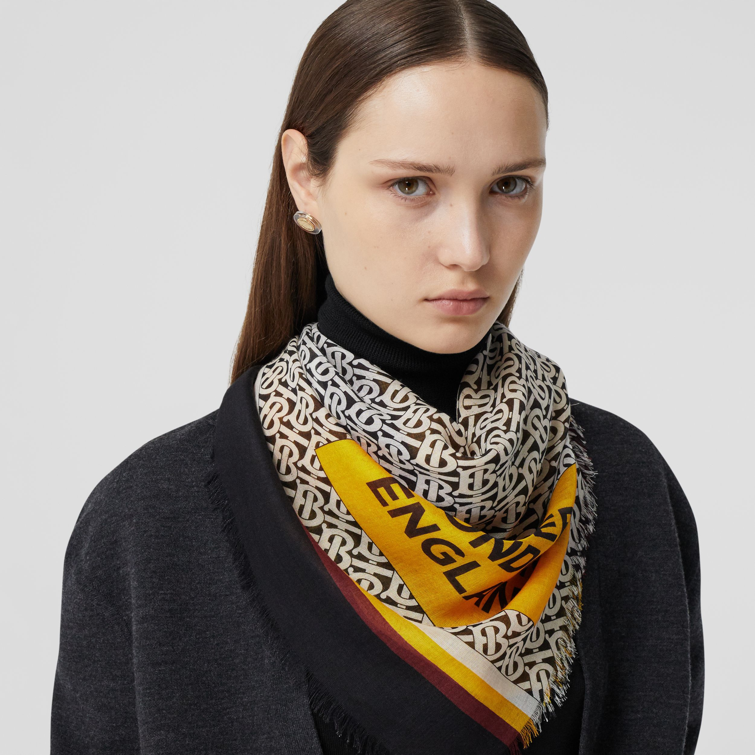 Monogram and Stripe Print Silk Wool Scarf in Citrus Orange | Burberry United States - 3