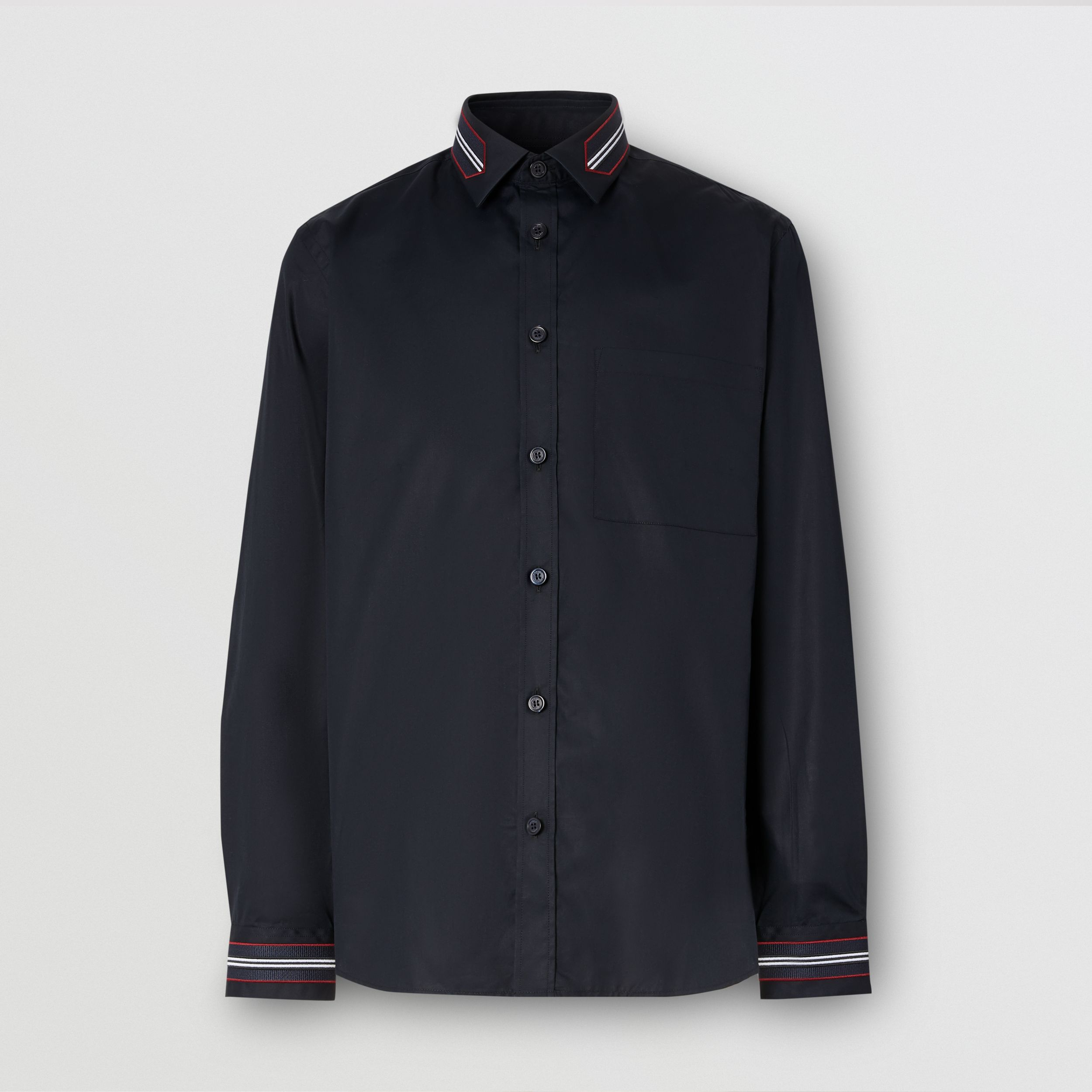 Slim Fit Icon Stripe Trim Cotton Poplin Shirt in Navy - Men | Burberry - 4