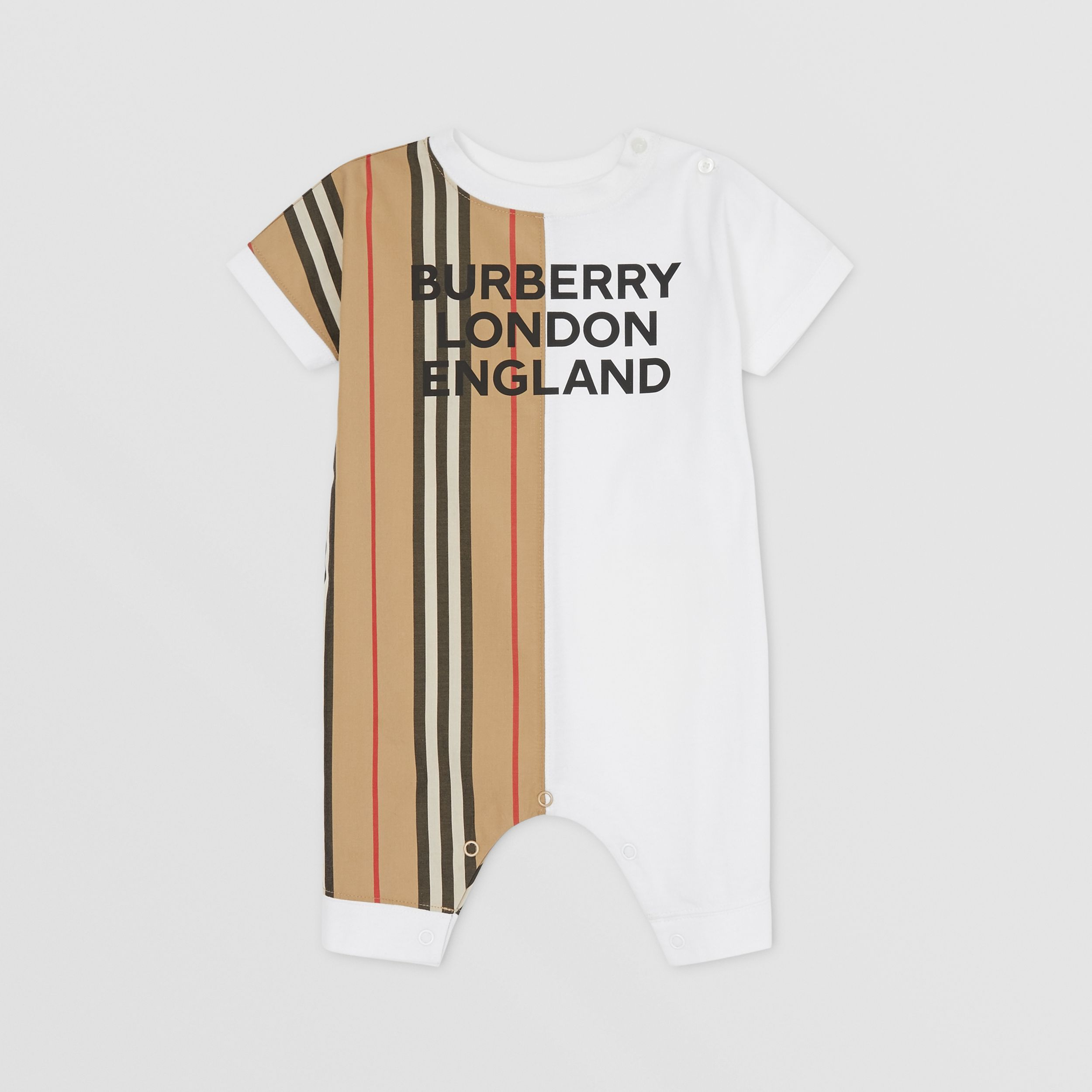 Icon Stripe Panel Cotton Playsuit in White - Children | Burberry - 3