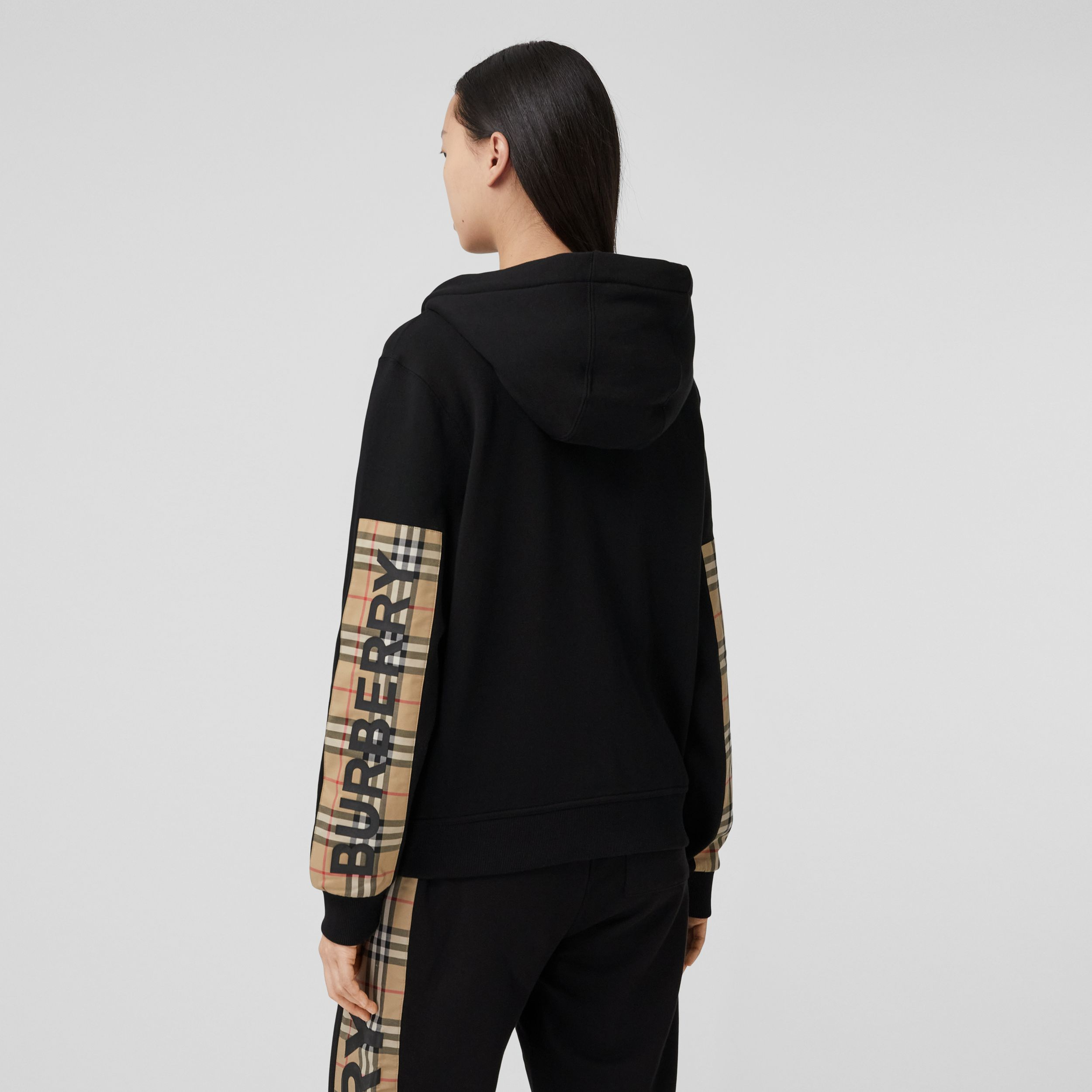 Vintage Check Panel Cotton Oversized Hooded Top in Black - Women | Burberry - 3